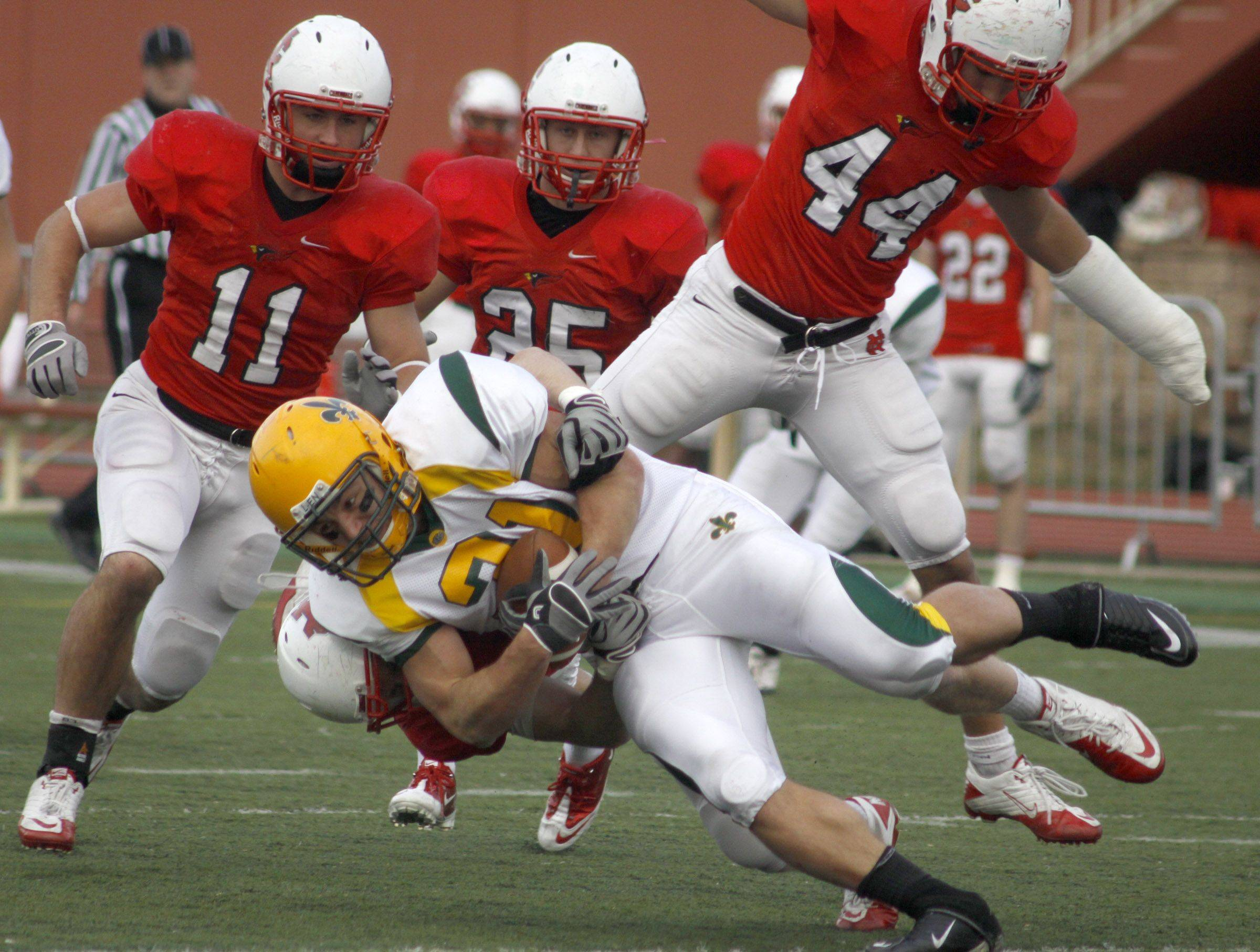 North Central College players Joe Schneiderbauer, 11, Shane Dierking, 25, and Kane Thompson, 44, bring down a St. Norbert player at Saturday's playoff football game. North Central College went on to win 57 to 7.