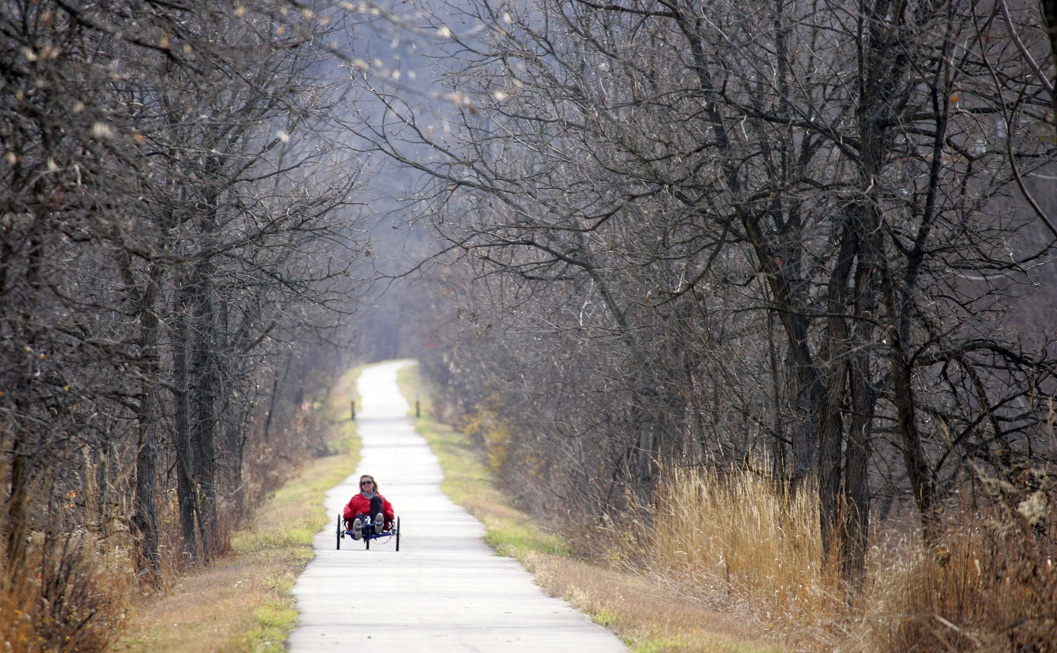 """I thought that I would get out one more time before it's too cold,"" remarked Mary Hernandez of Elgin. ""I'm just not ready to put my bike away but I guess it is time."" Hernandez was riding her recumbent bike along the Fox River Trail Tuesday, November 16 as temperatures reached into the mid 50's."