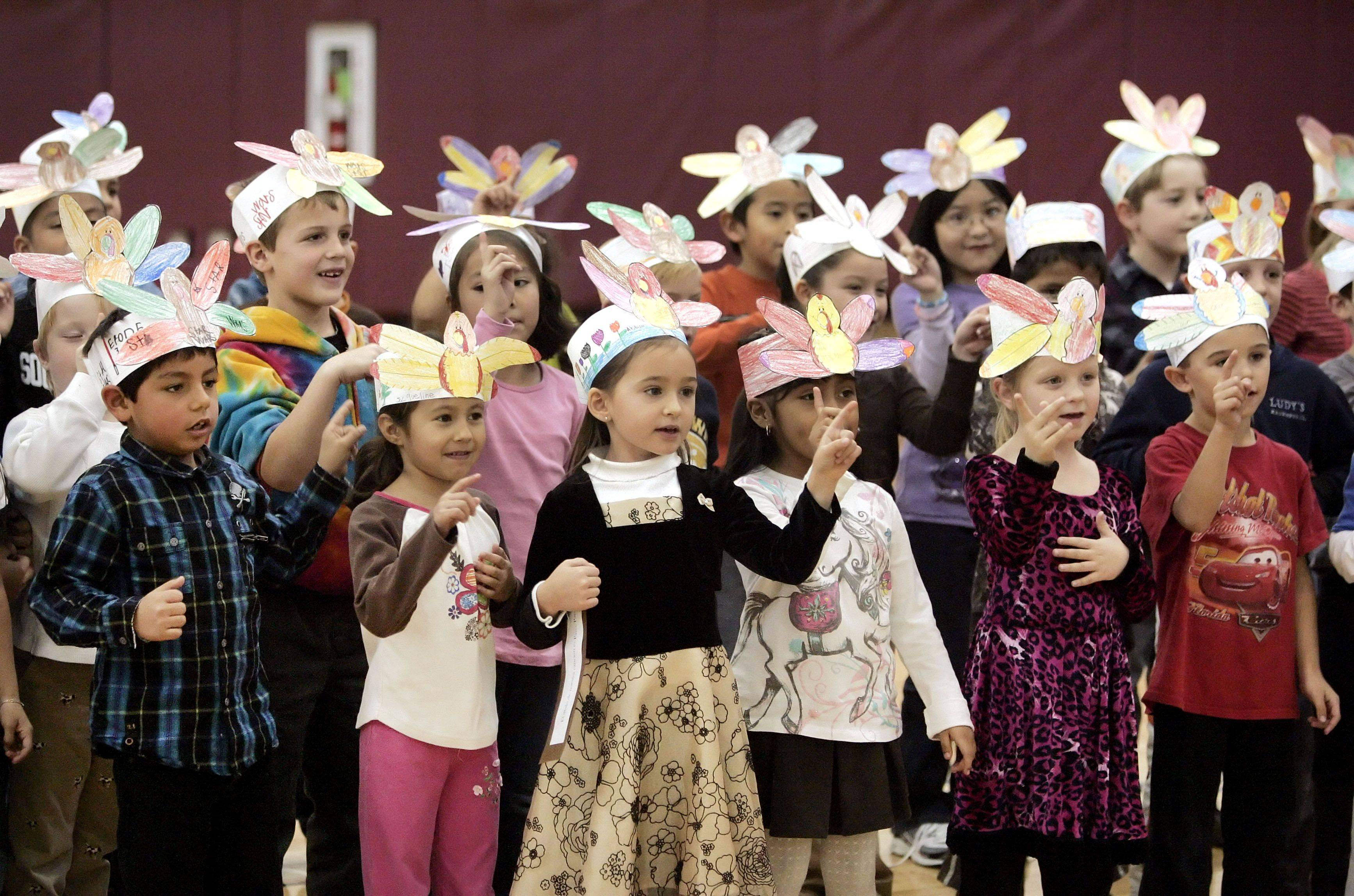 Townline Elementary School first graders put on their Thanksgiving Songfest Thursday in Vernon Hills.
