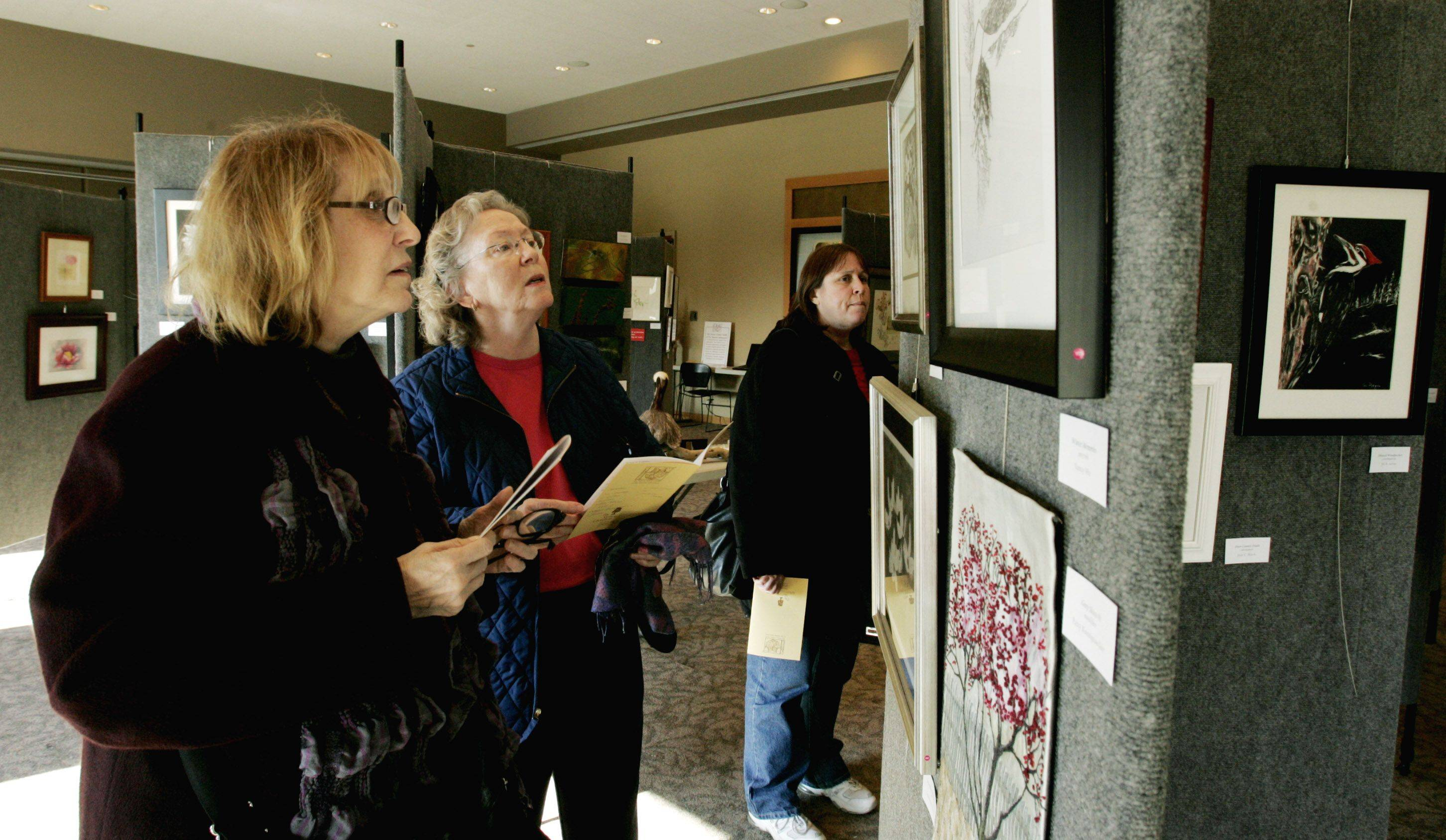 Serna Sheridan of Glencoe, left, and Eileen LaBarre, right, of Palatine check out the Guild Exhibit featuring the works of more than 150 artists Sunday at the Morton Arboretum's Thornhill Education Center in Lisle.