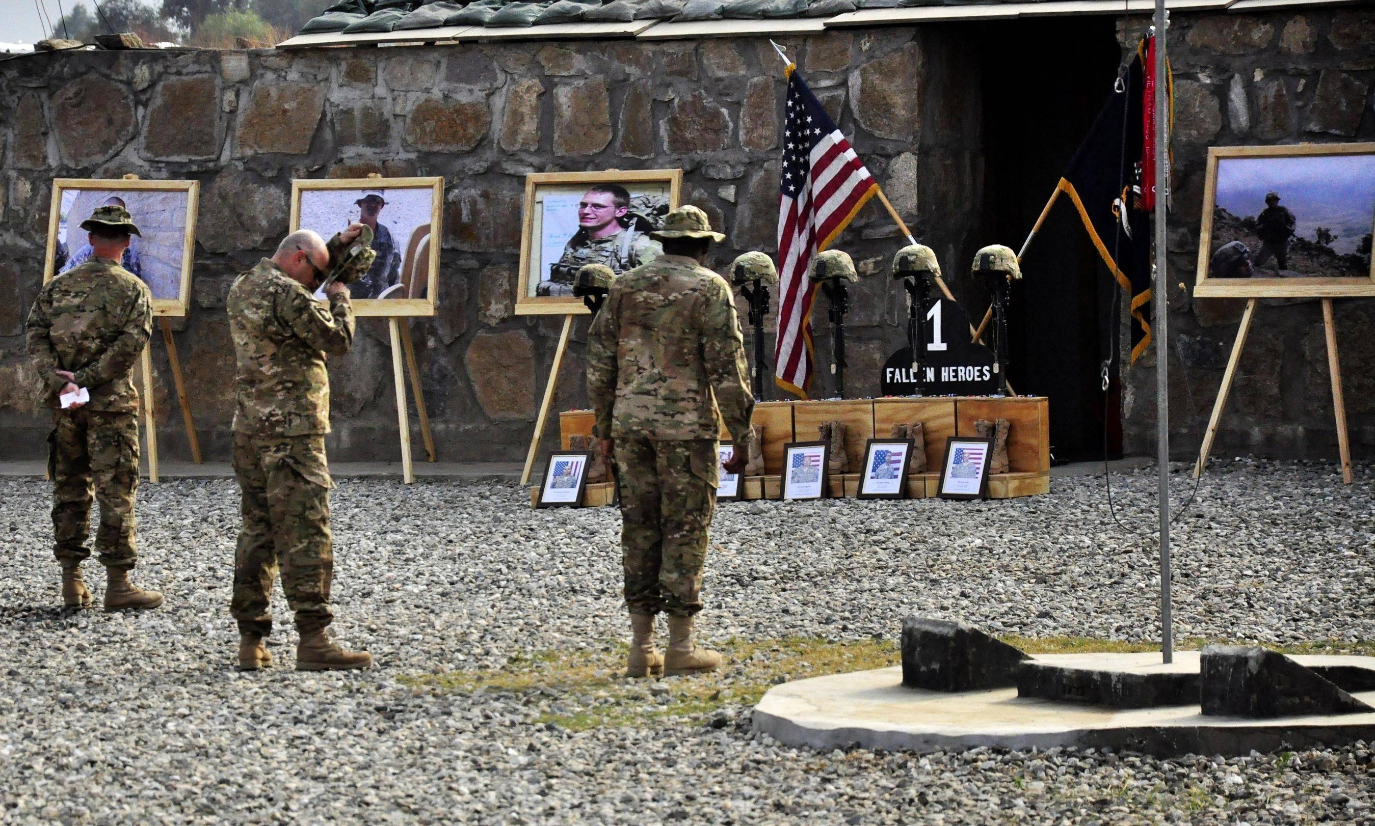 A memorial honors the six soldiers killed in battle last week in the Pech Valley region of Afghanistan.