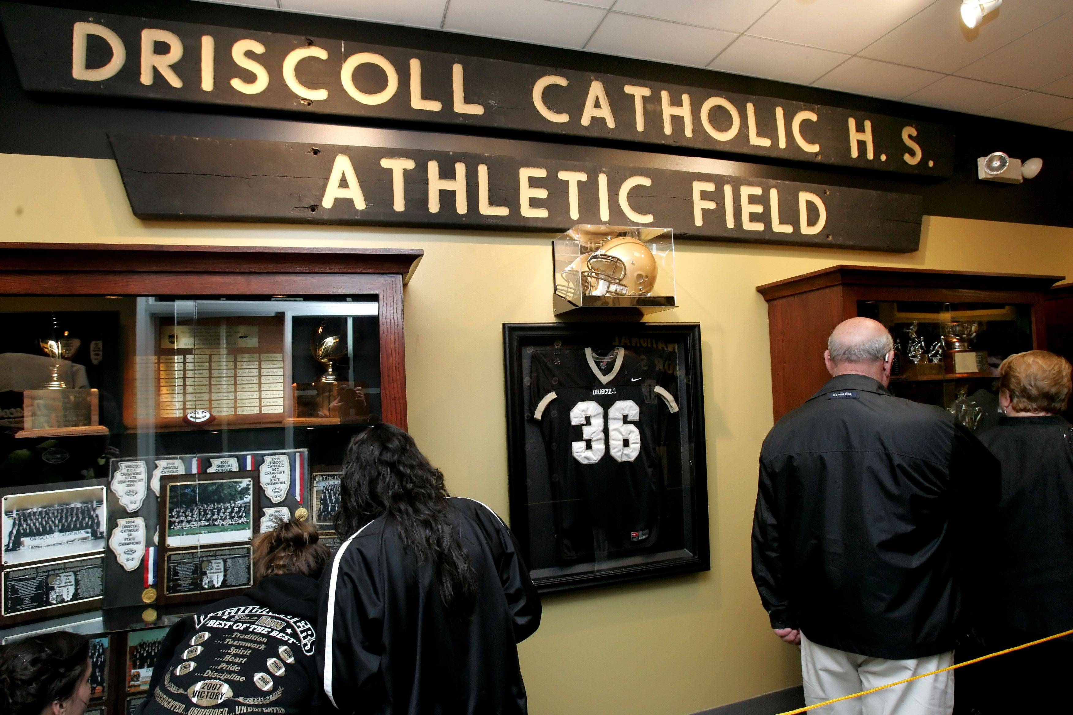 The Driscoll Legacy Corridor inside Addison village hall remains open to visitors as a permanent tribute to the 43-year-old Driscoll Catholic High School.