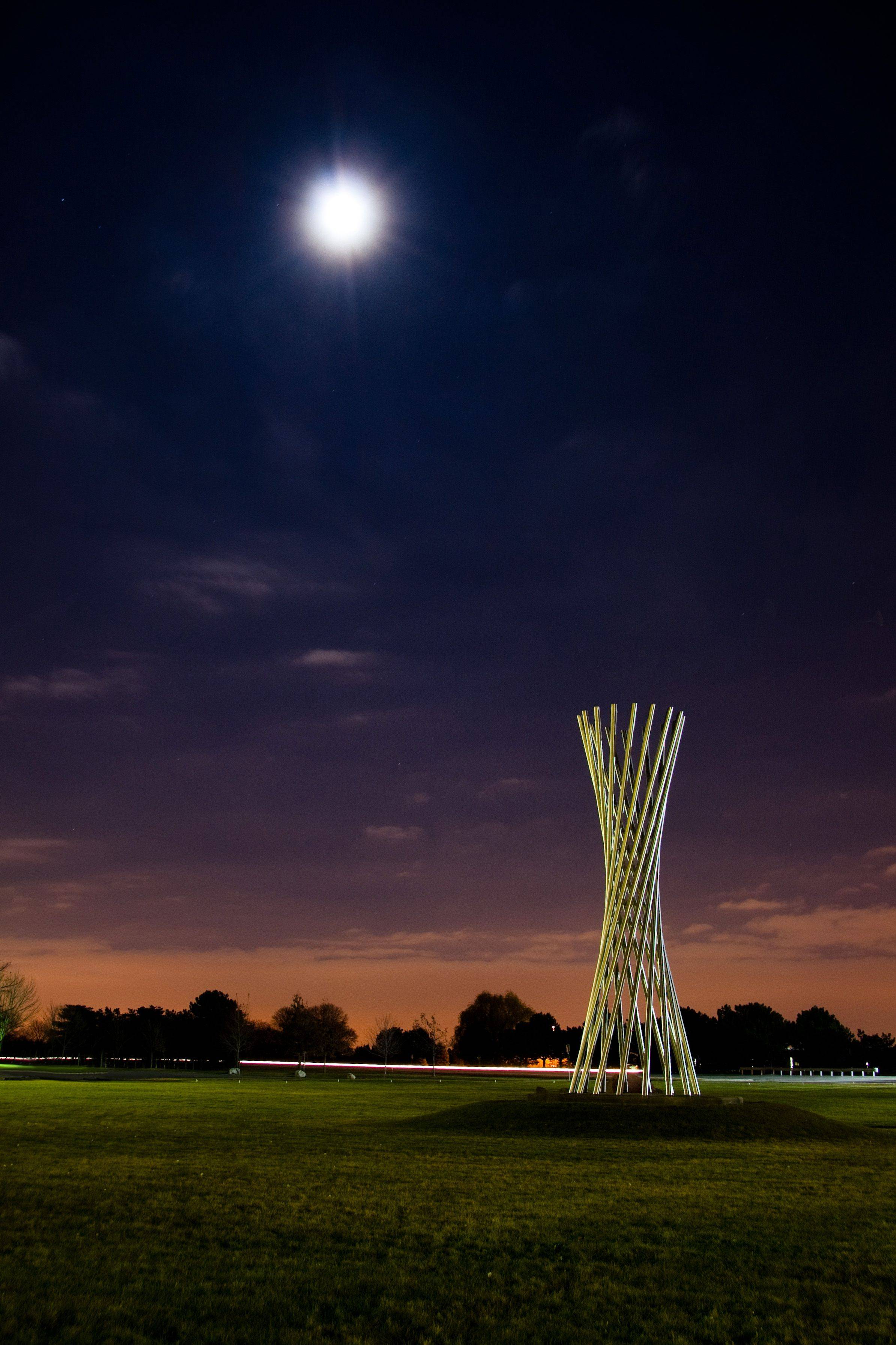 """Tractricious by the light of the moon""  one of several sculptures on Fermilab's site. This picture was taken on a crystal clear evening the week before Thanksgiving just after sunset."
