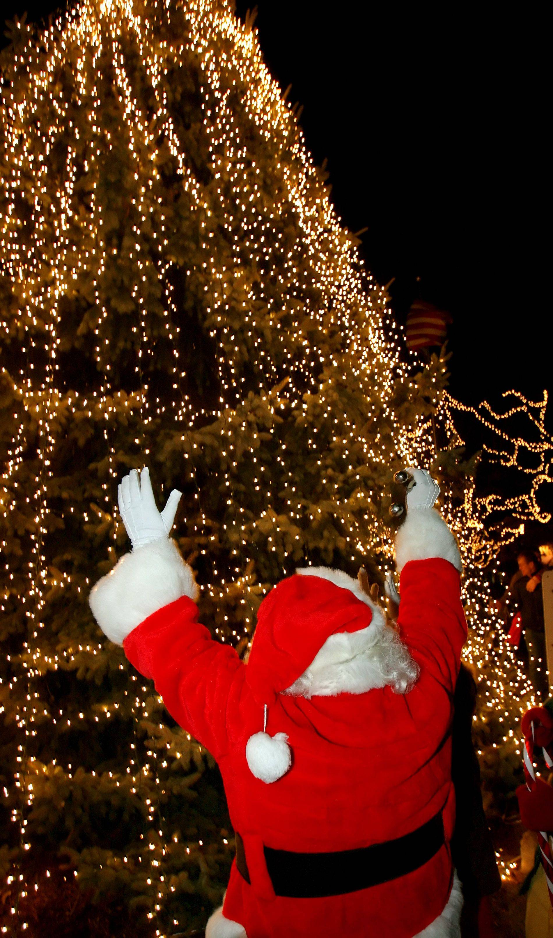 Santa raises his arms as the tree is lit at Seymour Ave. and Center St. in downtown Grayslake during the official tree lighting ceremony Friday night.