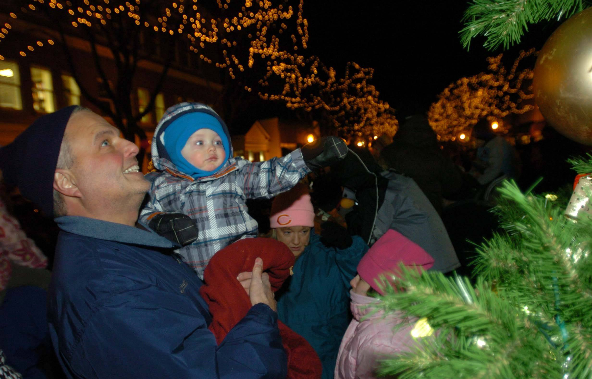 Steve Driza and his Grandson James Lewis, 1, of Glen Ellyn check out the Christmas tree during the Glen Ellyn Tree lighting Friday.