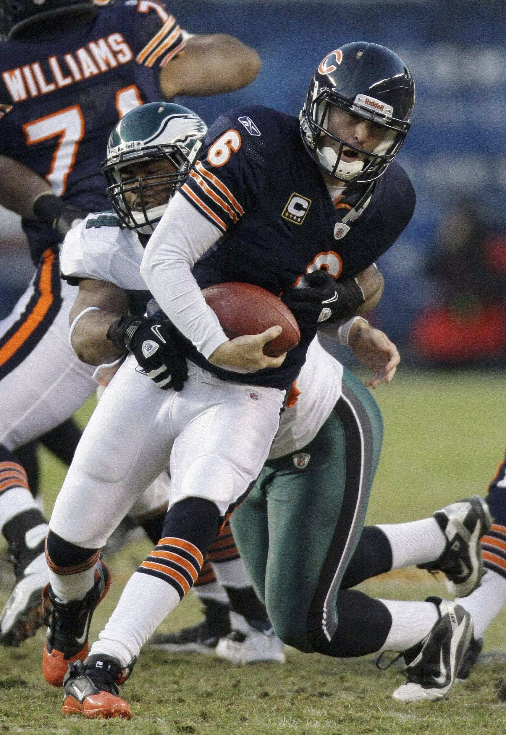 Chicago Bears quarterback Jay Cutler is sacked by Philadelphia Eagles defensive end Brandon Graham in the first half.