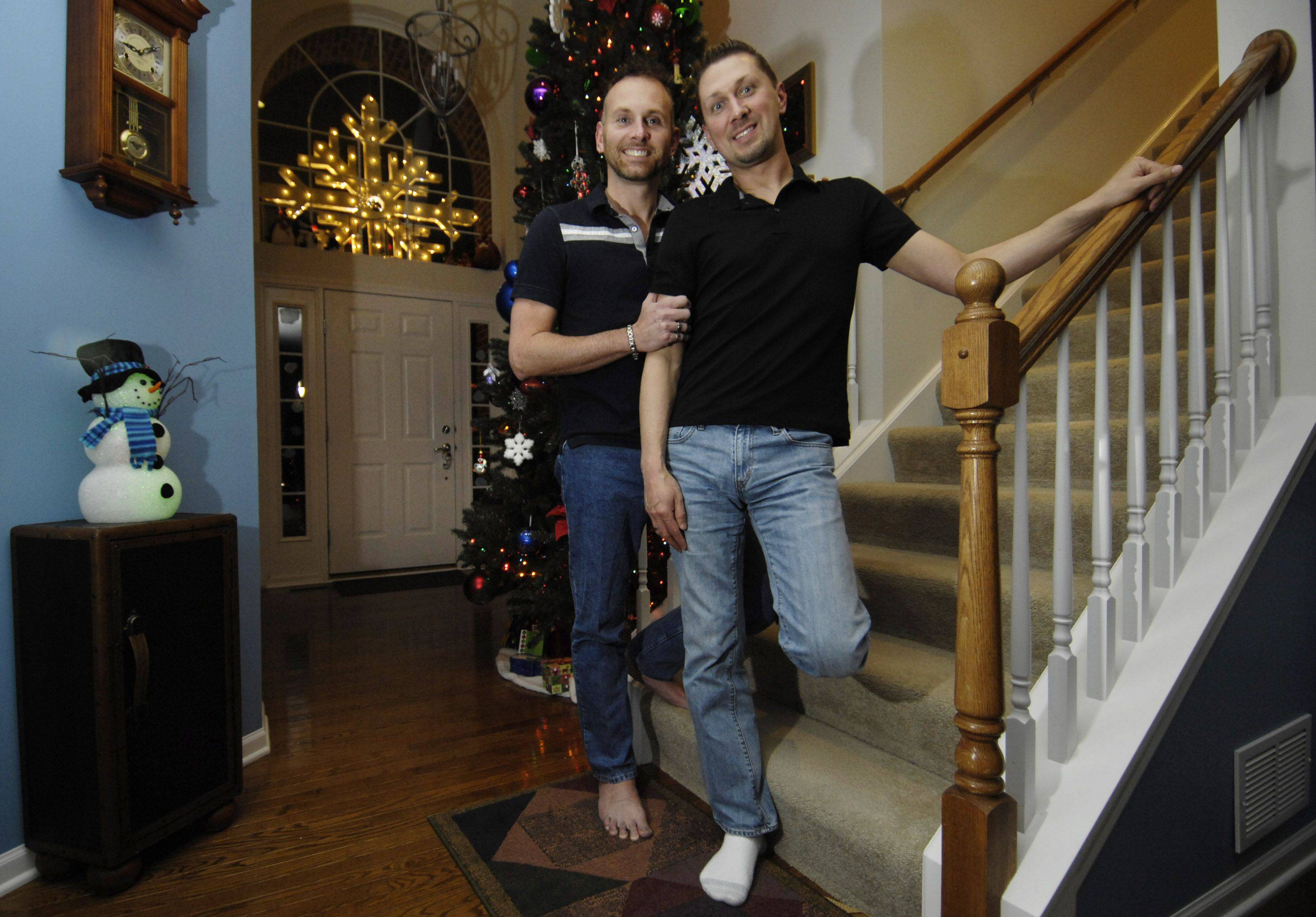 David, left, and Conrad Foxx have been together for more than 10 years. The Carpentersville couple look forward to their civil union ceremony.