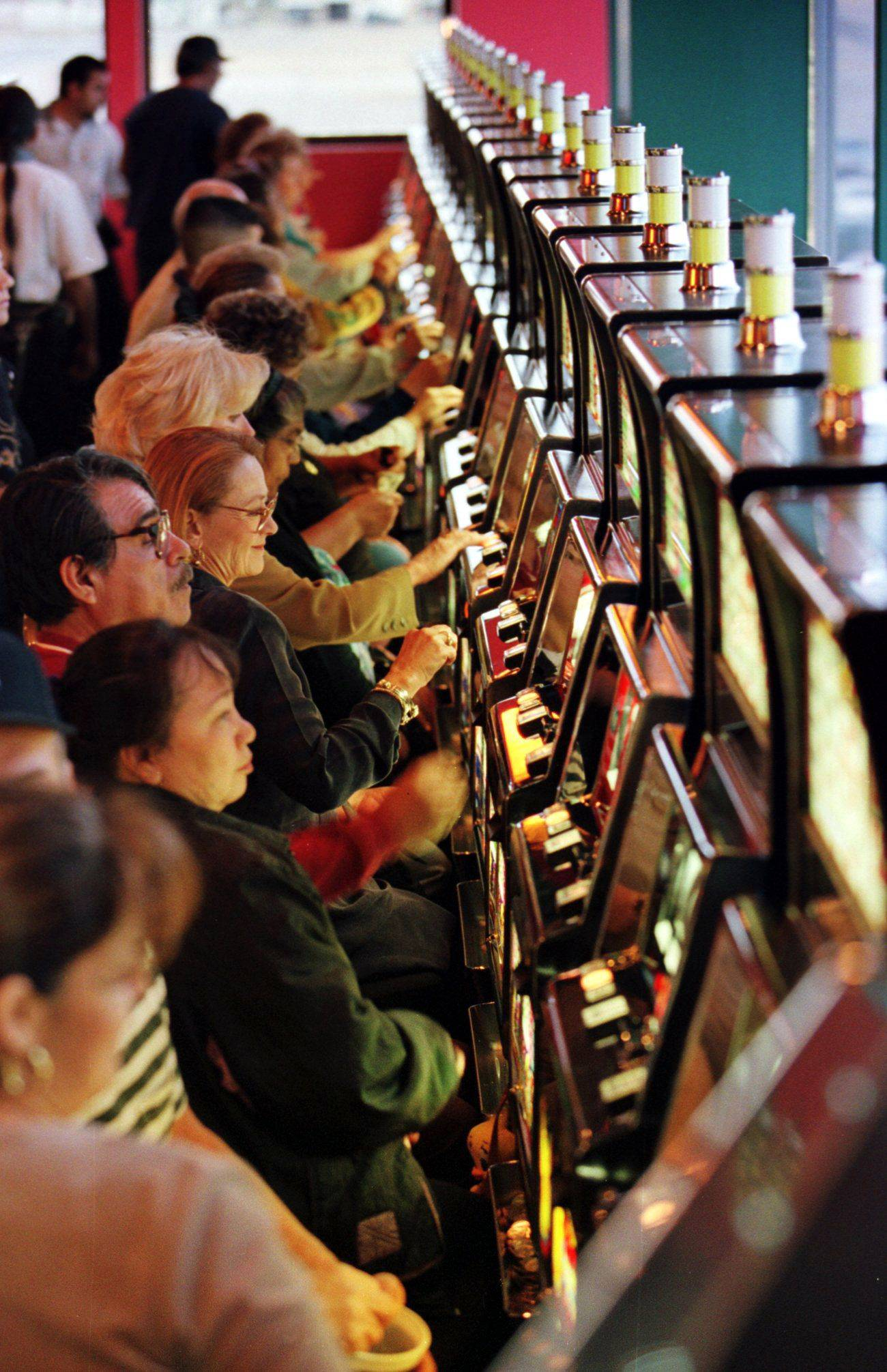 Slot machines line the walls of a casino at a racetrack in New Mexico. A bill that just passed the Illinois Senate would allow slots at tracks in this state, including 1,200 at Arlington Park.UPI