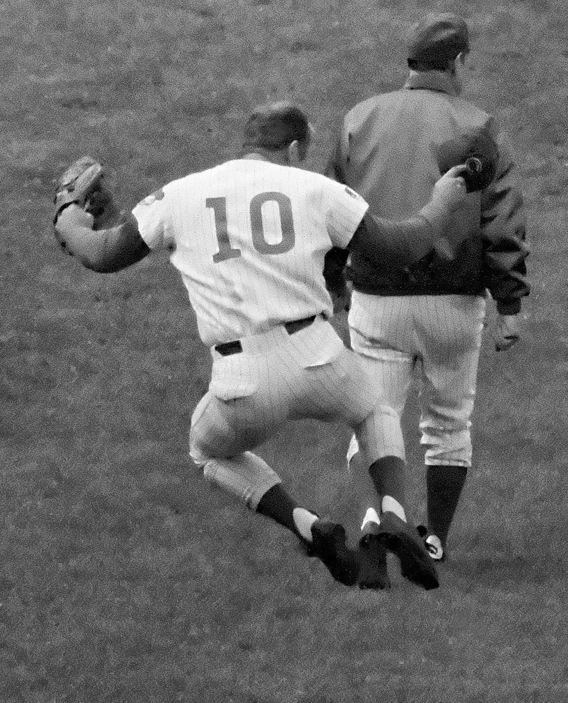 Chicago Cubs third baseman Ron Santo (10) clicks his heels all the way to the locker room after his ninth-inning sacrifice fly allowed the winning run to score for a 5-4 victory against Pittsburg on June 24, 1969.