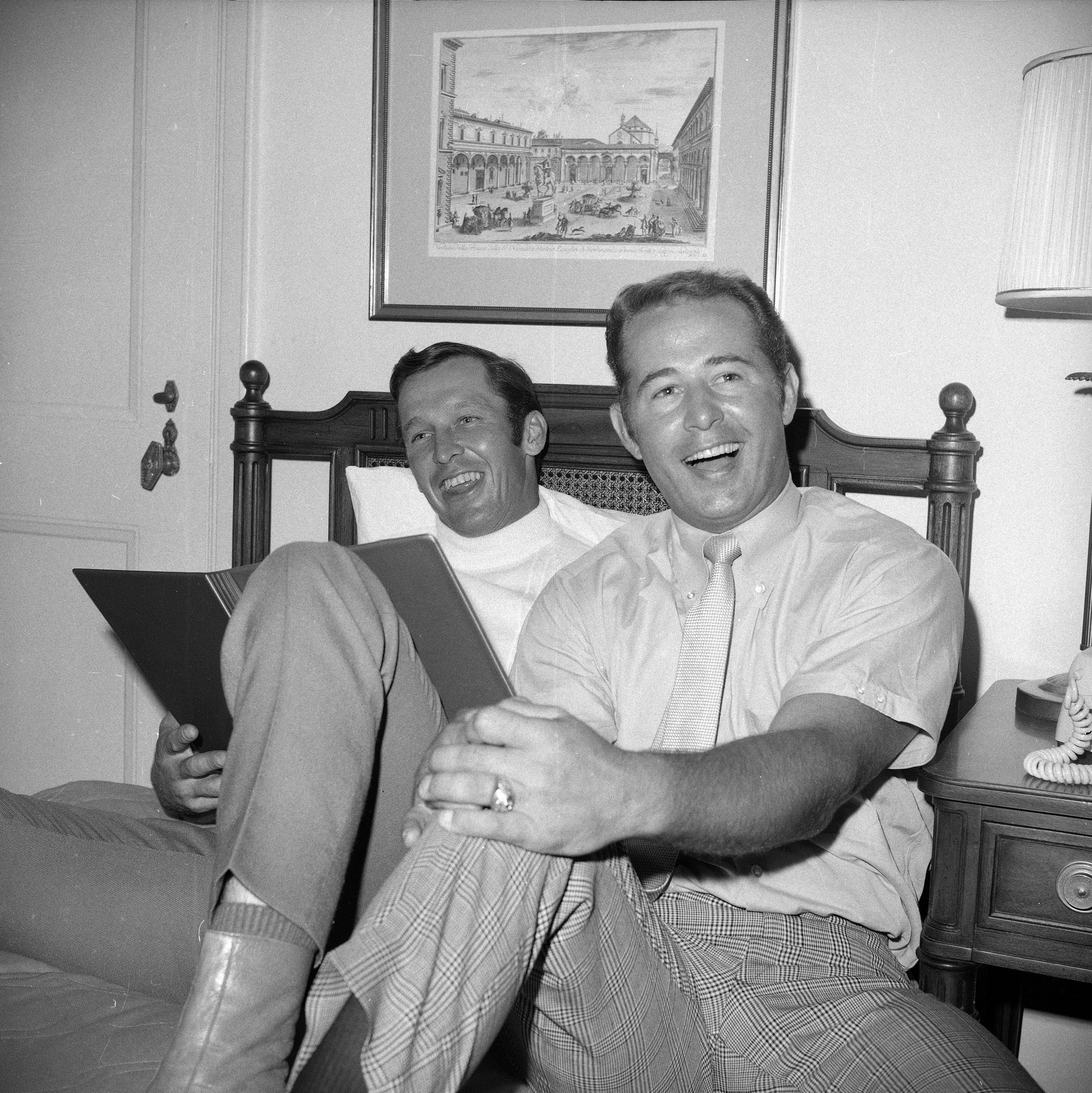 Chicago Cubs infielders Glenn Beckert, left, and Ron Santo relax in their hotel room at the Waldorf Astoria in New York Sept. 8, 1969 after arriving for a two-game series against the Mets.