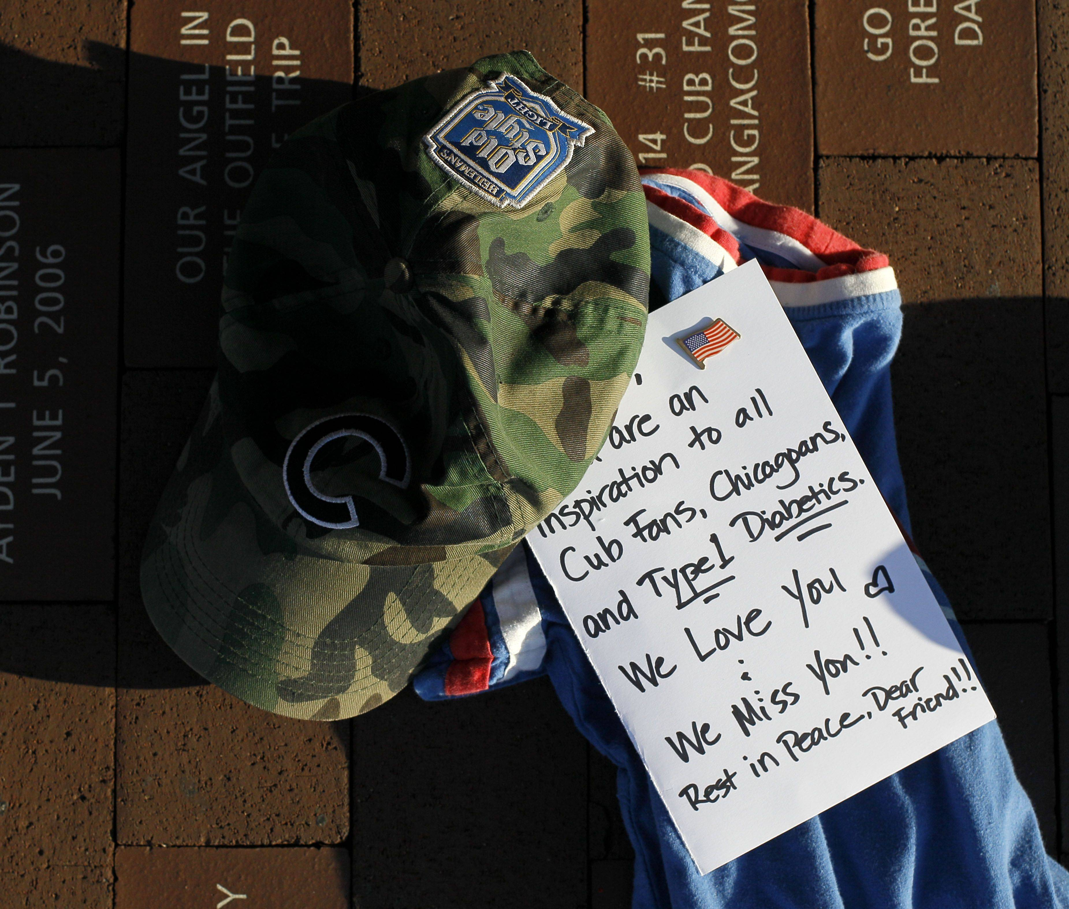 A memorial to former Chicago Cubs' Ron Santo, one of the greatest players in Cubs history, is shown outside Wrigley Field, after news of Santo's death was announced.