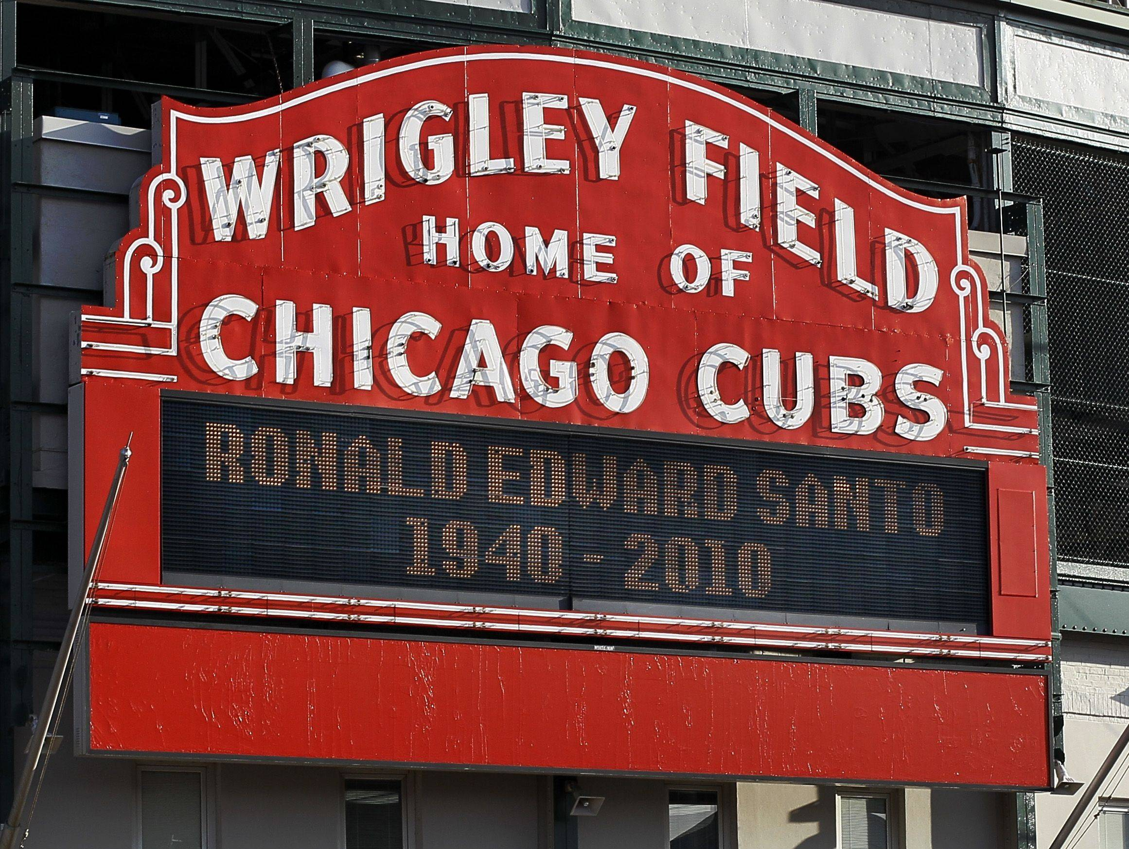 The Wrigley Field marquee pays tribute to Cubs' legendary third baseman Ron Santo.