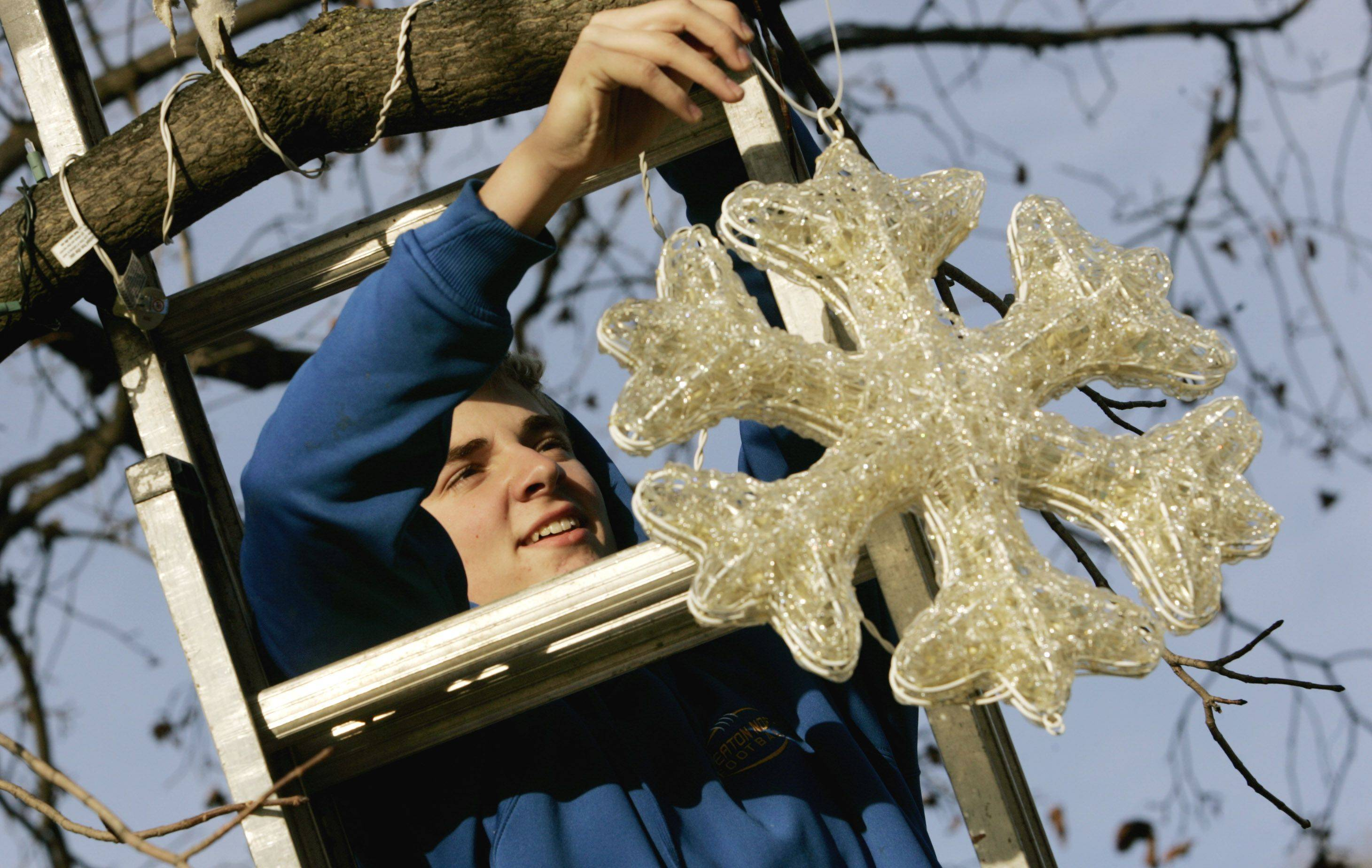 Jesse Dean of Wheaton hangs Christmas lights on the tree in his front yard Sunday in Wheaton.