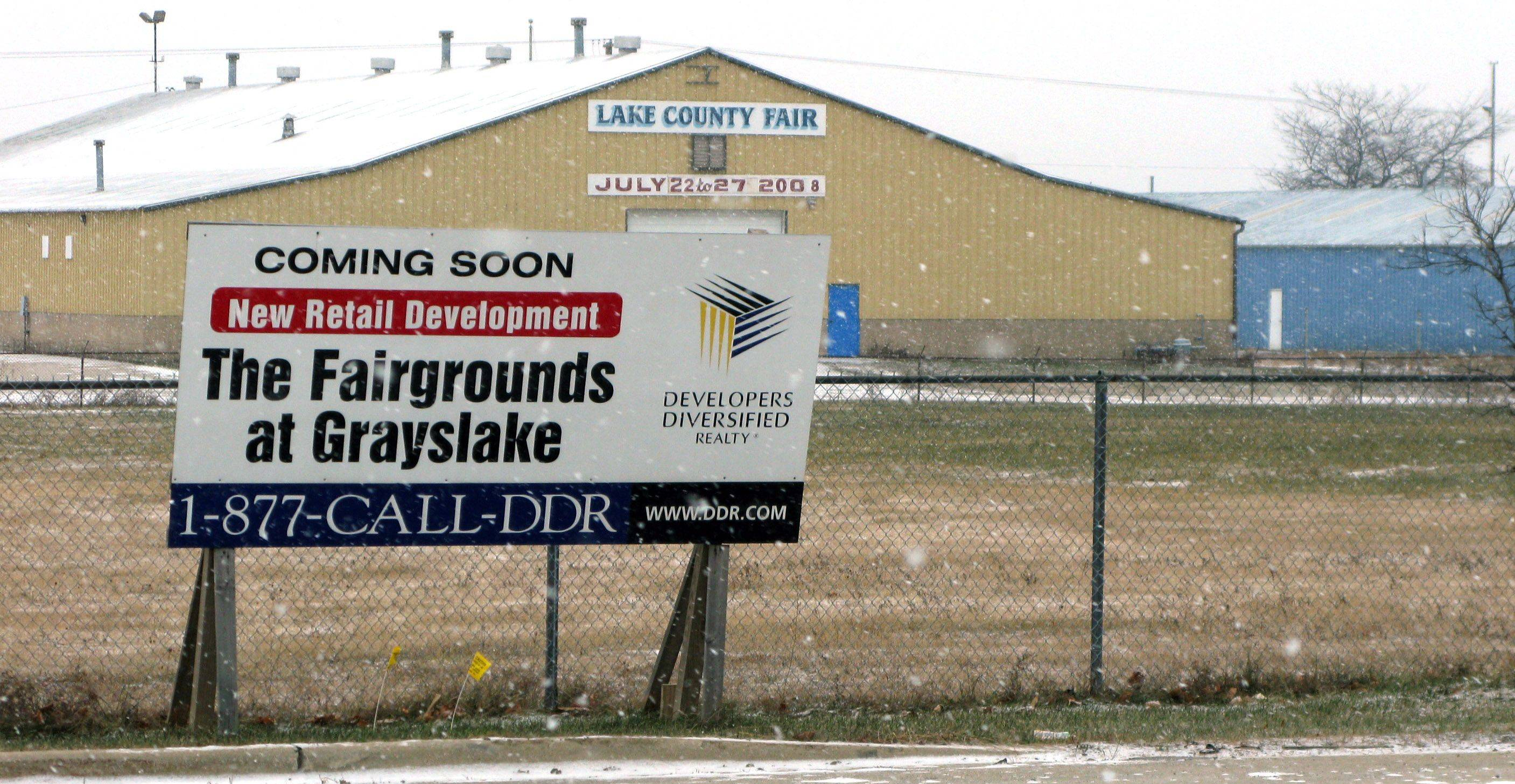 The former site of the Lake County Fair at routes 45 and 120 in Grayslake remains vacant, three years after receiving village approval for an 807,000-square-foot retail center.