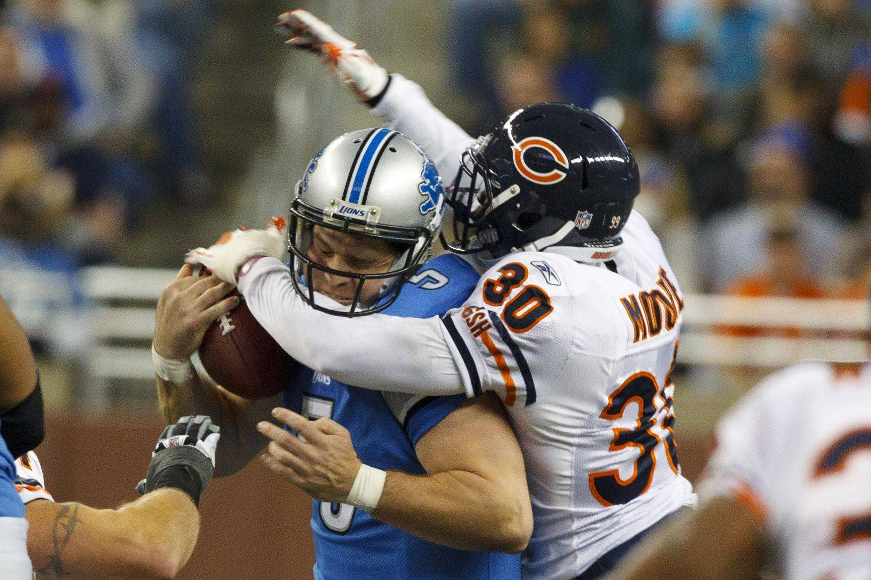 Chicago Bears cornerback D.J. Moore sacks Detroit Lions quarterback Drew Stanton (5) in the second half.