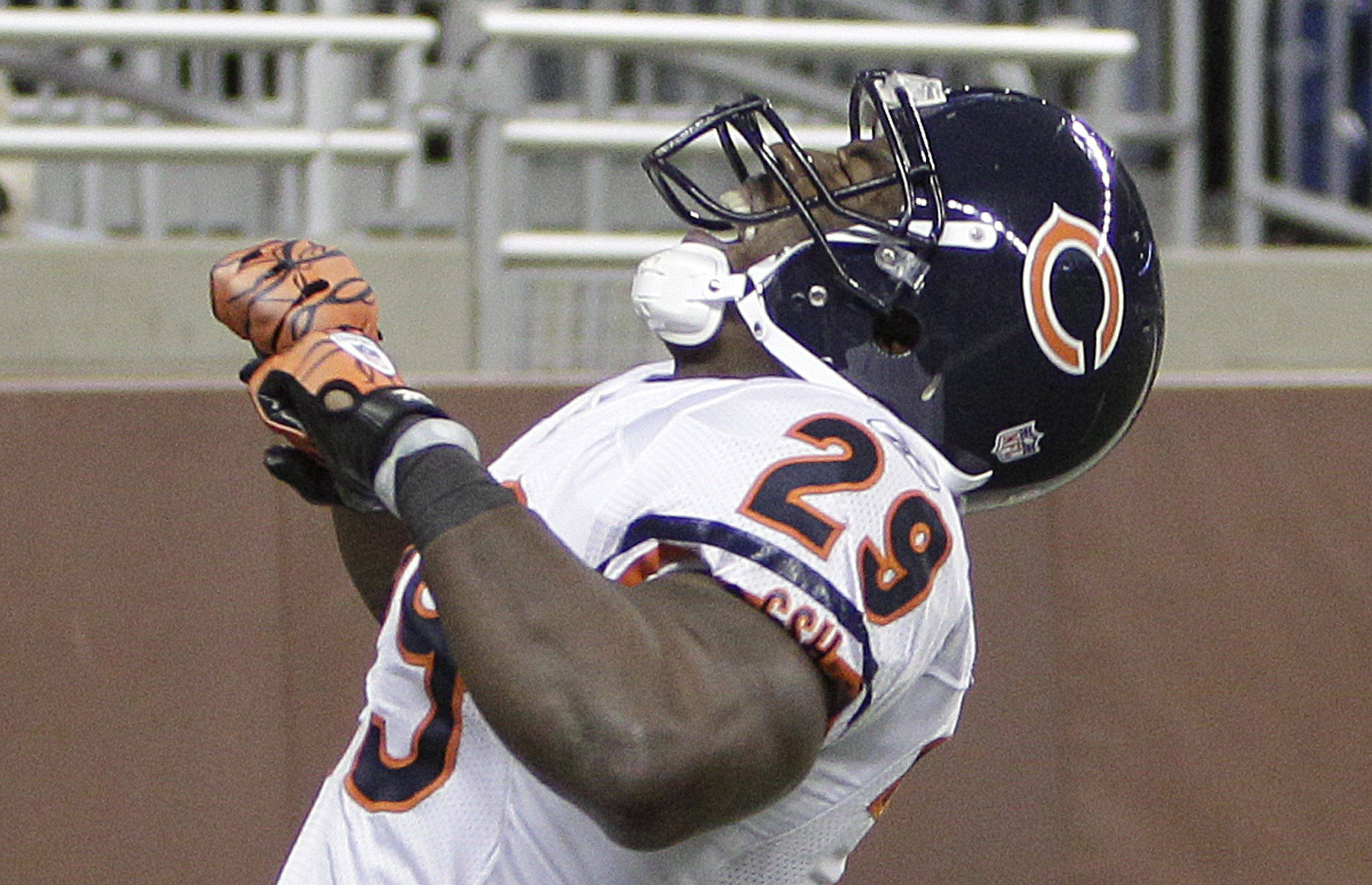 Chicago Bears running back Chester Taylor reacts after scoring a touchdown during the first quarter.