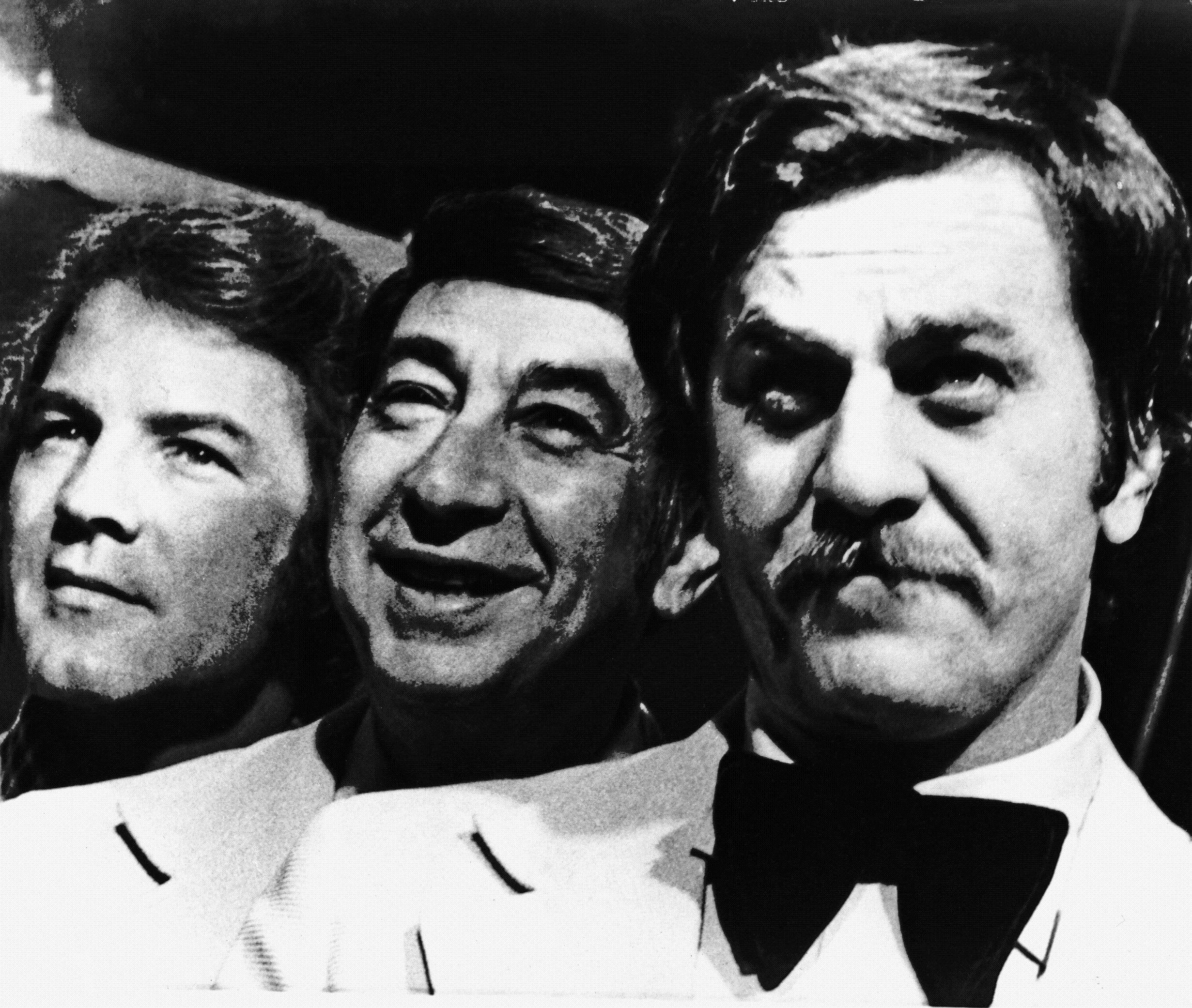 This Nov. 20, 1973, file photo shows, from left, Frank Gifford, Howard Cosell and Don Meredith, before the start of their ABC-TV football telecast, in Atlanta, Georgia.