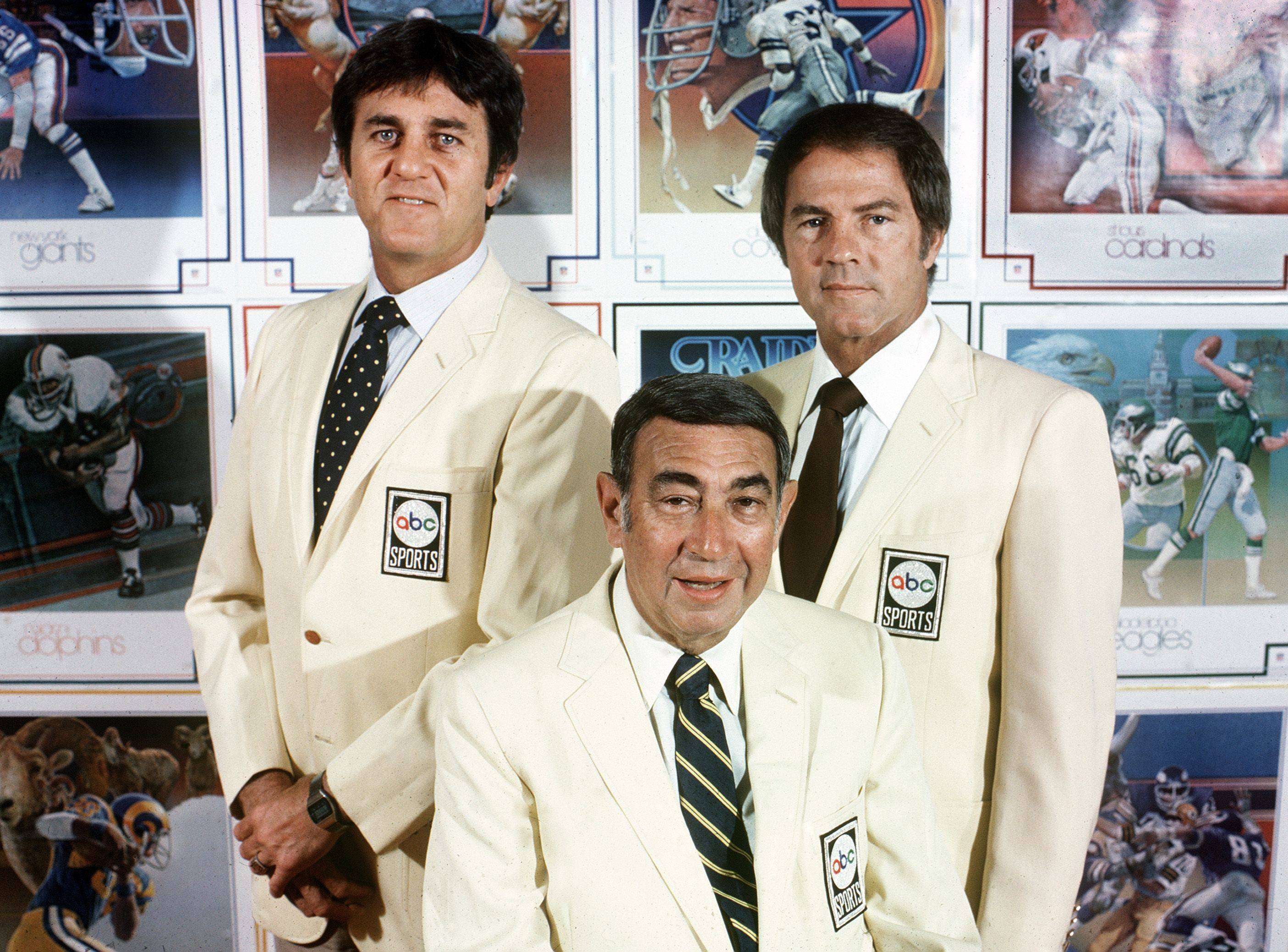 This Sept. 1980, photo provided by American Broadcasting Companies, Inc. shows ABC Monday Night Football commentators, from left, Don Meredith, Howard Cosell and Frank Gifford.