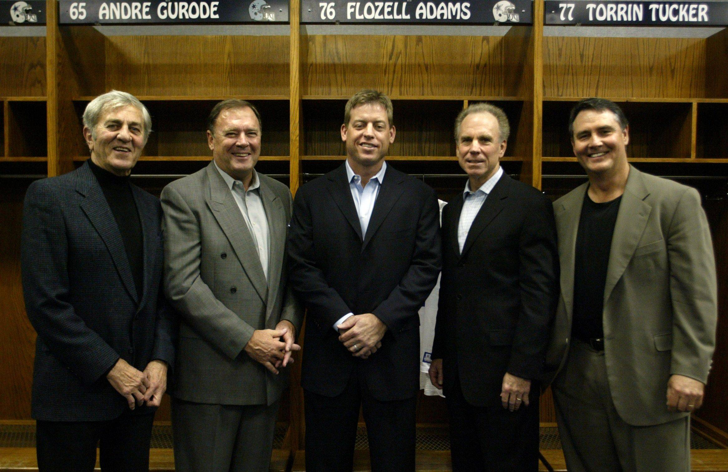 This Nov. 3, 2003, photo shows former Dallas Cowboys quarterbacks, from left; Don Meredith, Craig Morton, Troy Aikman, Roger Staubach, and Danny White, at Texas Stadium in Irving, Texas.