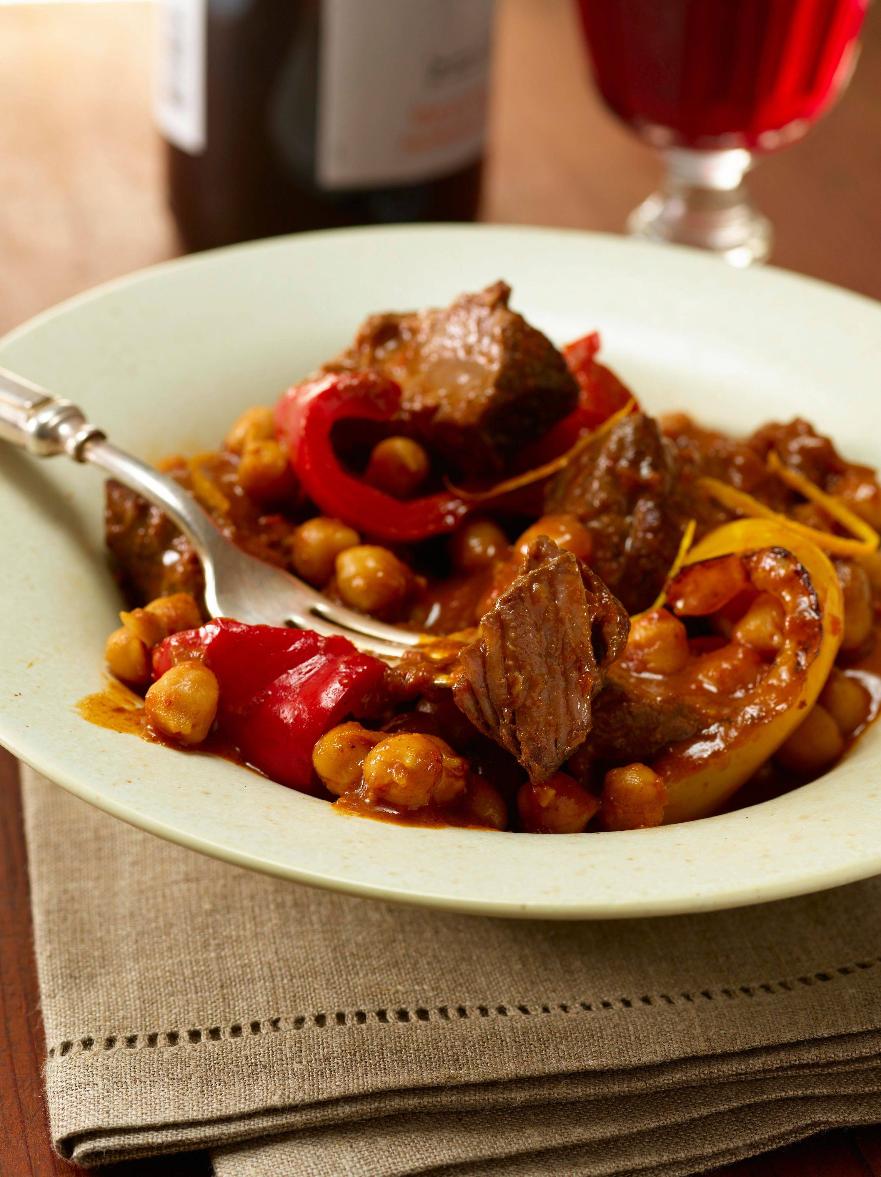"Rioja Beef with Chickpeas, Peppers and Saffron from ""Perfect One-Dish Dinners"" by Pam Anderson"