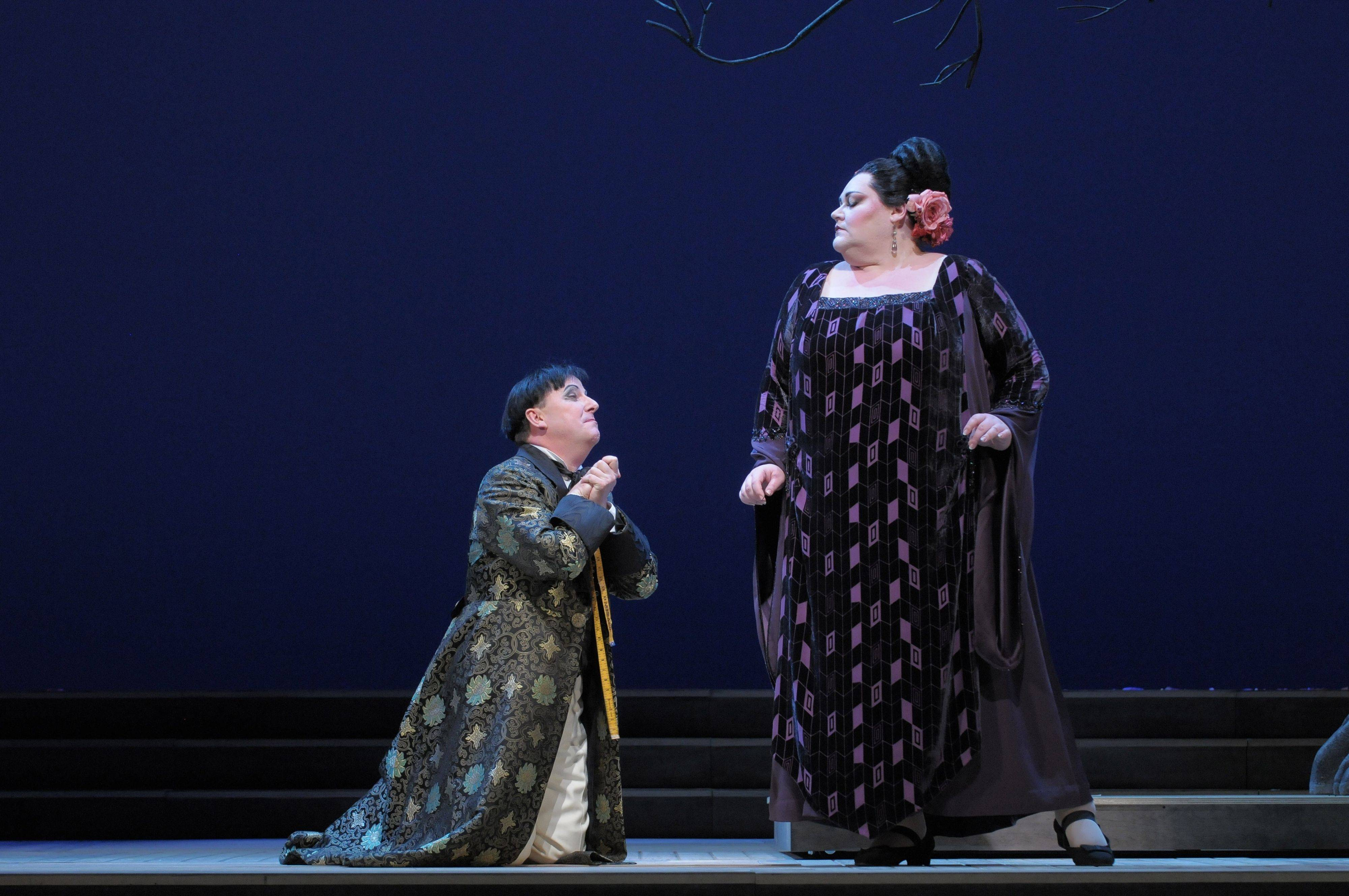 "Ko-Ko (Neal Davies) begs for the love of Katisha (Stephanie Blythe) in the Lyric Opera of Chicago's new production of Gilbert and Sullivan's 1885 comic operetta ""The Mikado."""