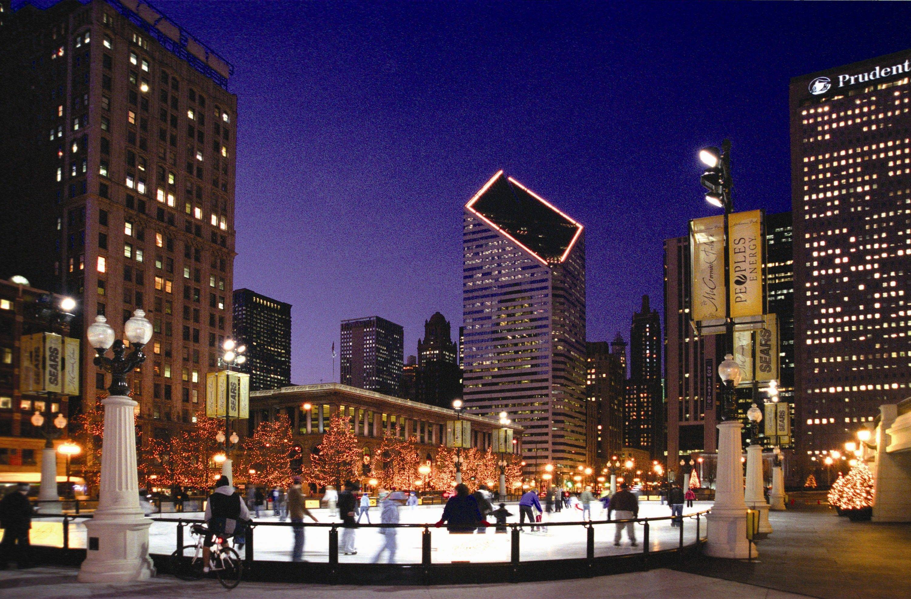 The Chicago skyline makes a great backdrop, day or night, for ice skating in Millennium Park.