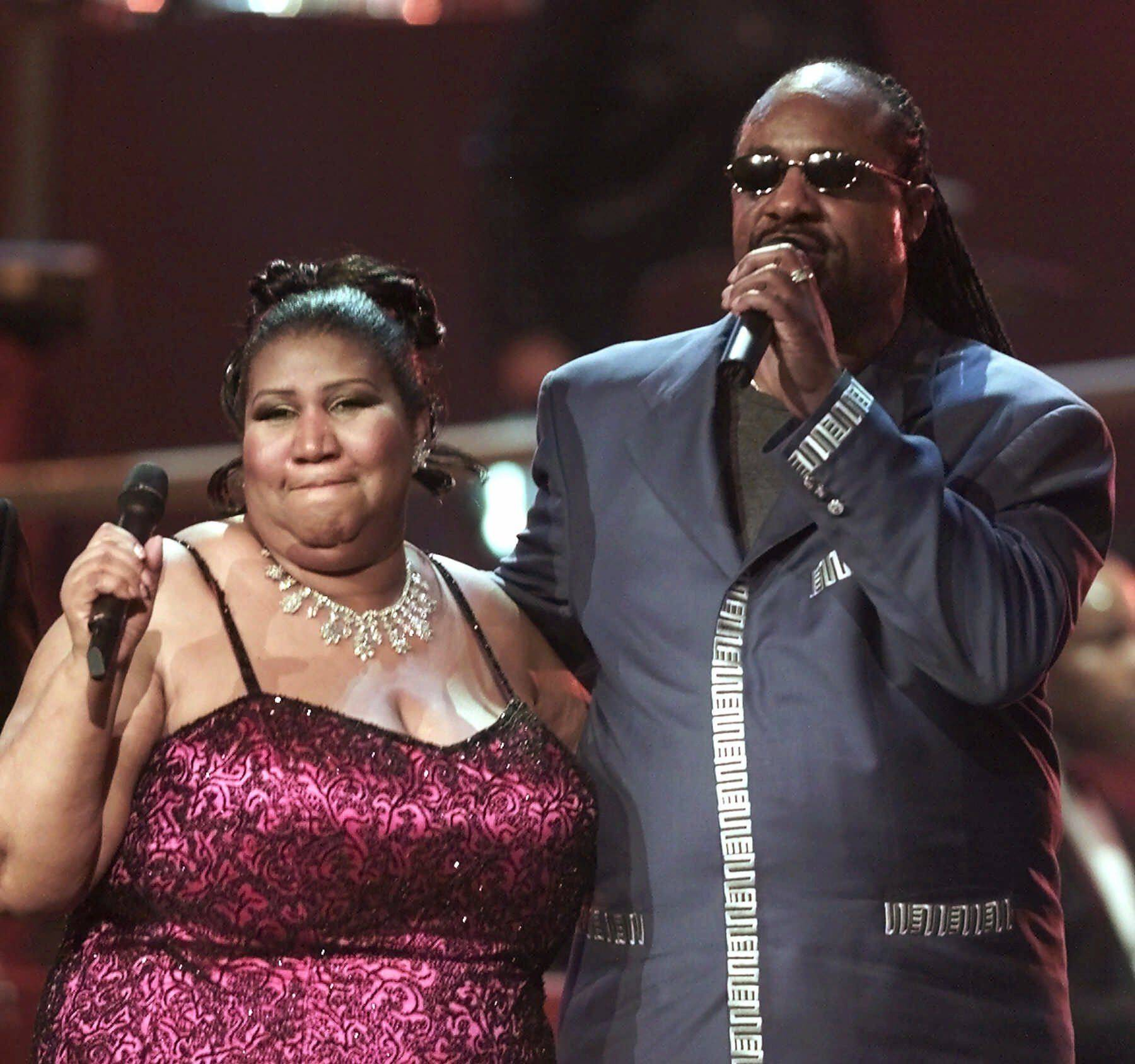 "Aretha Franklin sings with Stevie Wonder at the finale of the ""VH1 Divas 2001: The One and Only Aretha Franklin"" in this file photo from April 10, 2001, in New York."