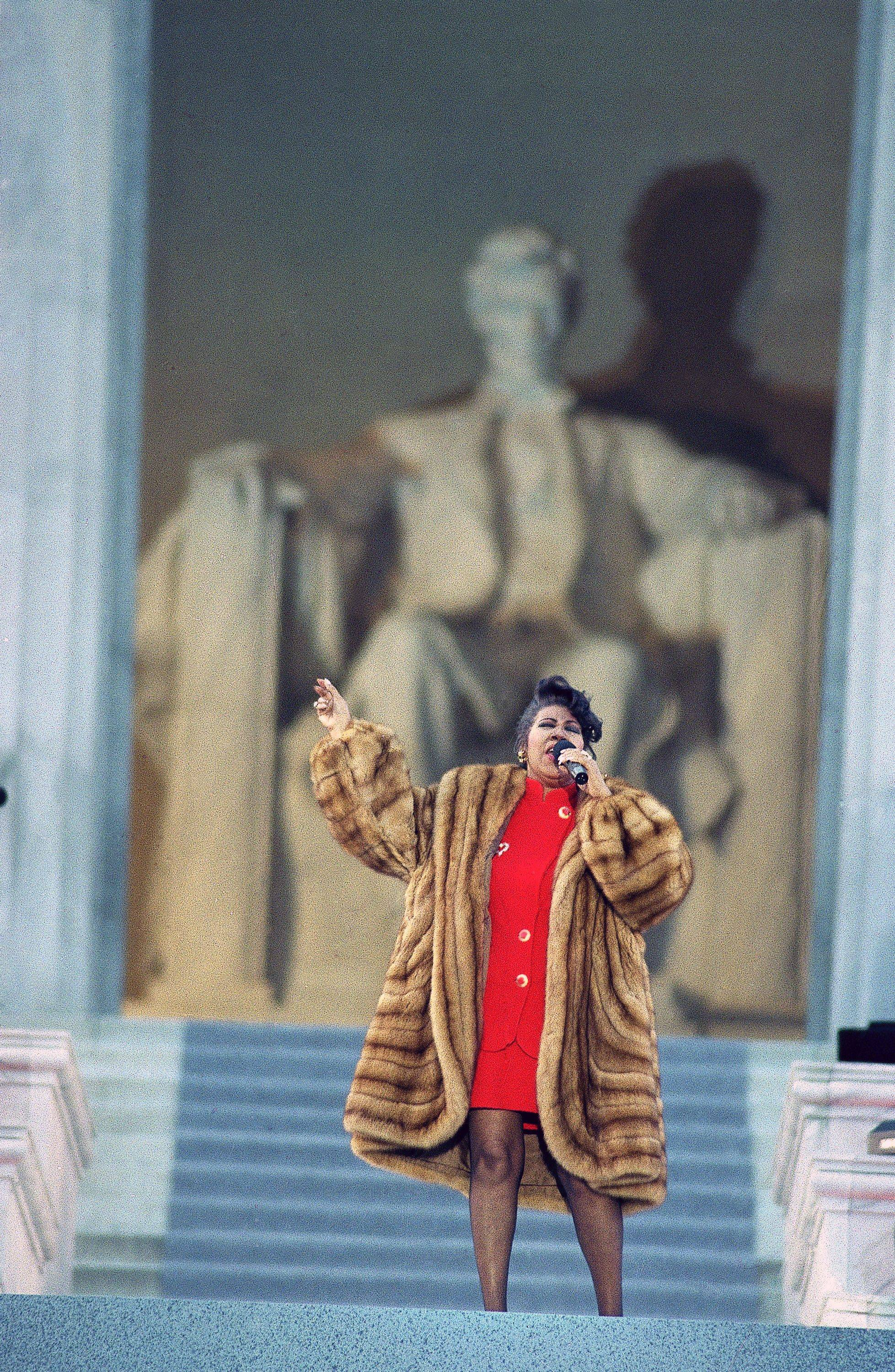 Aretha Franklin performs at pre-inaugural concert at the Lincoln Memorial, Washington, Jan. 1993.