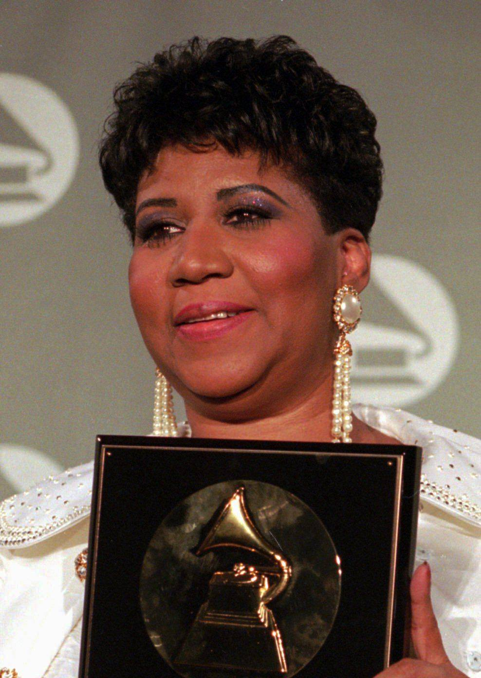 Aretha Franklin is shown in this March 1, 1994 file photo at the Grammy Awards.