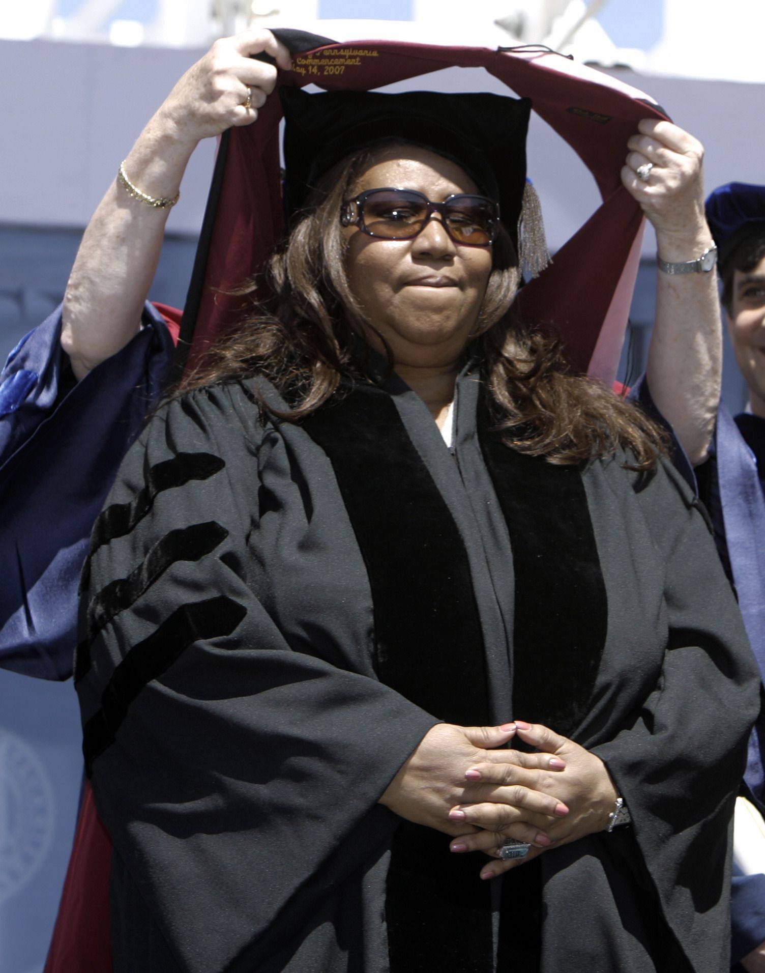 Performer Aretha Franklin receives a honorary degree during the University of Pennsylvania Commencement ceremony in Philadelphia, Monday, May 14, 2007.