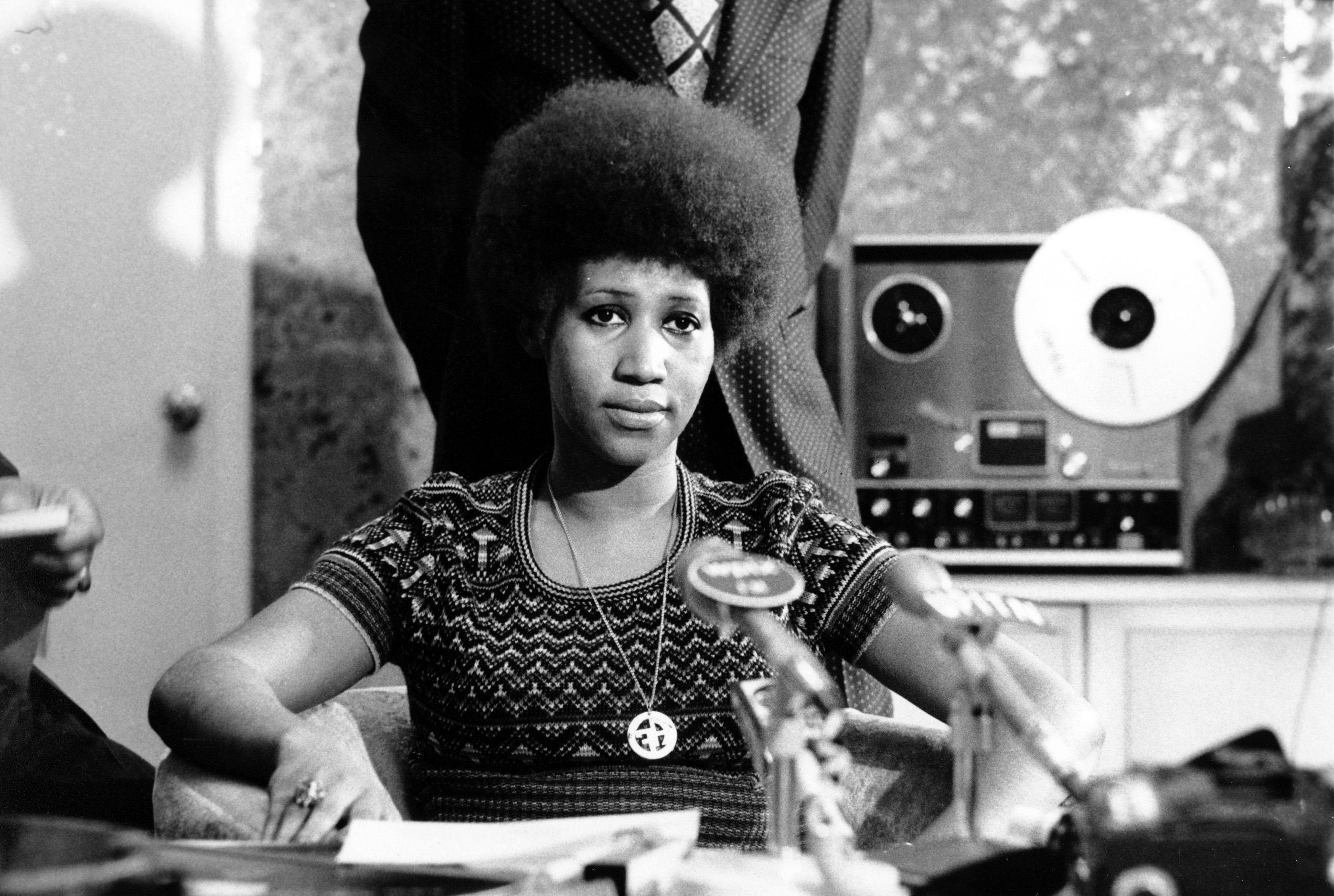 Soul singer Aretha Franklin is shown at a news conference on March 26, 1973.