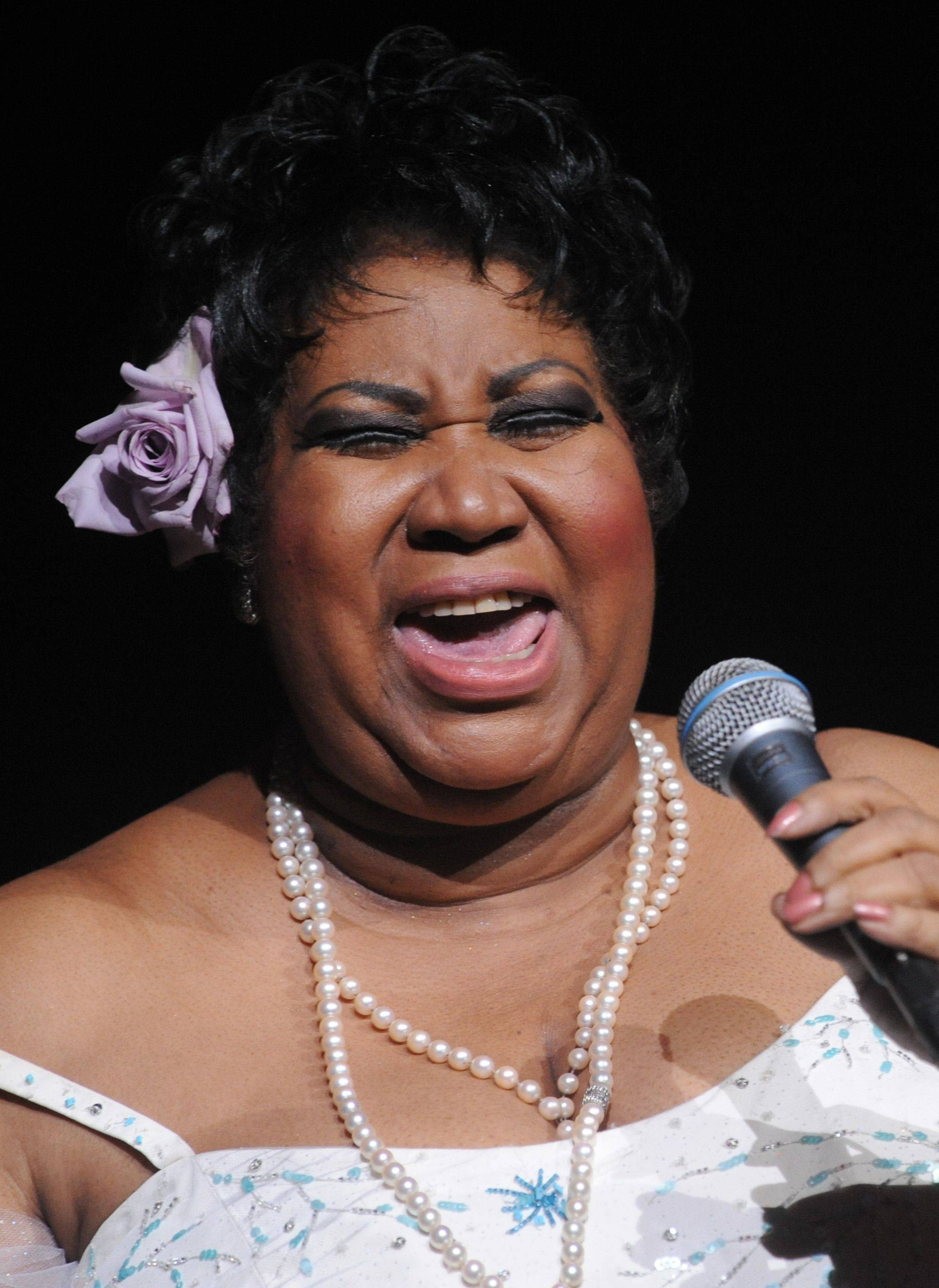 Aretha Franklin performs at Radio City Music Hall in New York, Friday, Mar. 21, 2008. The concert was the first of two sold-out shows.