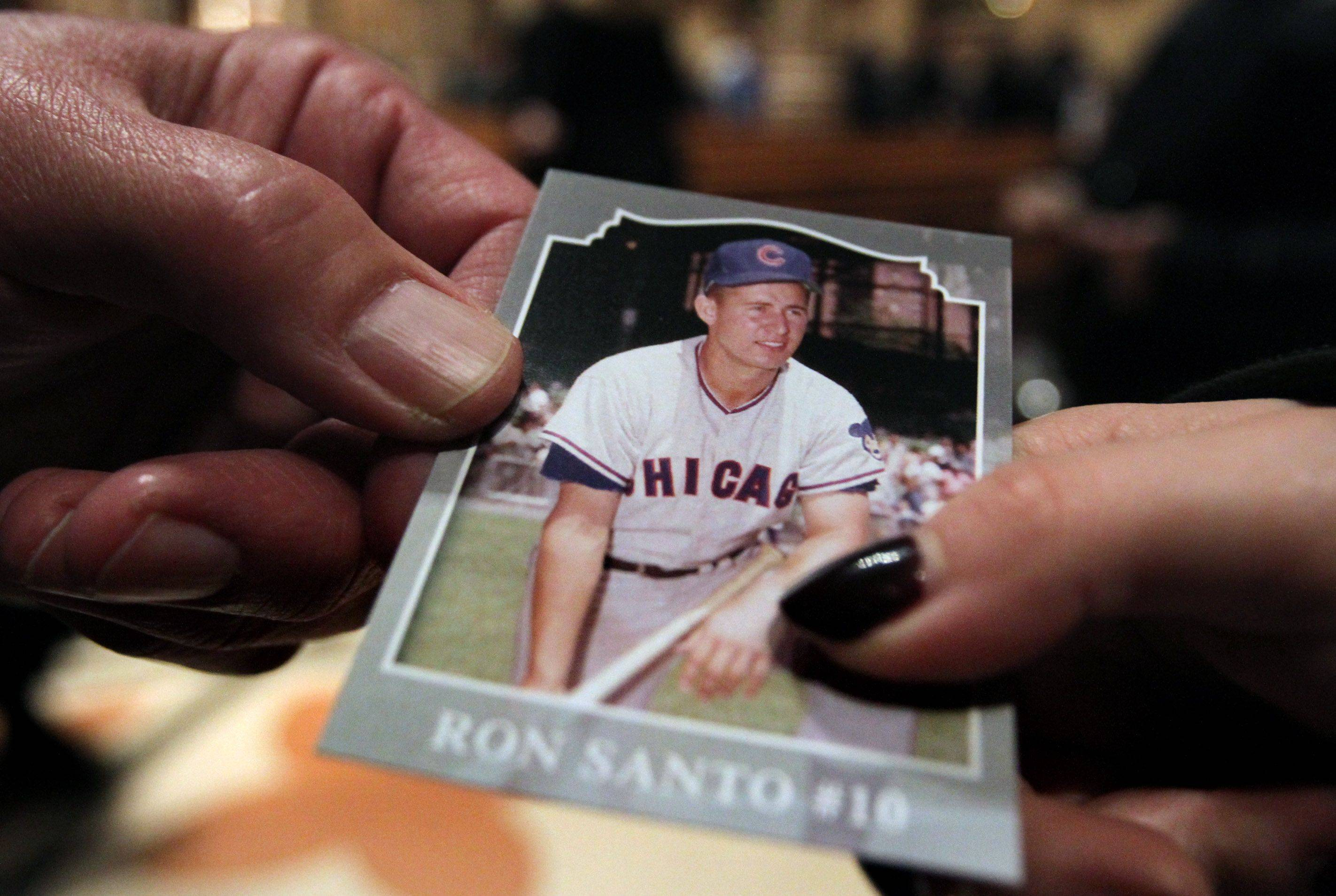 Chicago Cubs fans received a Ron Santo card as they entered the public visitation.