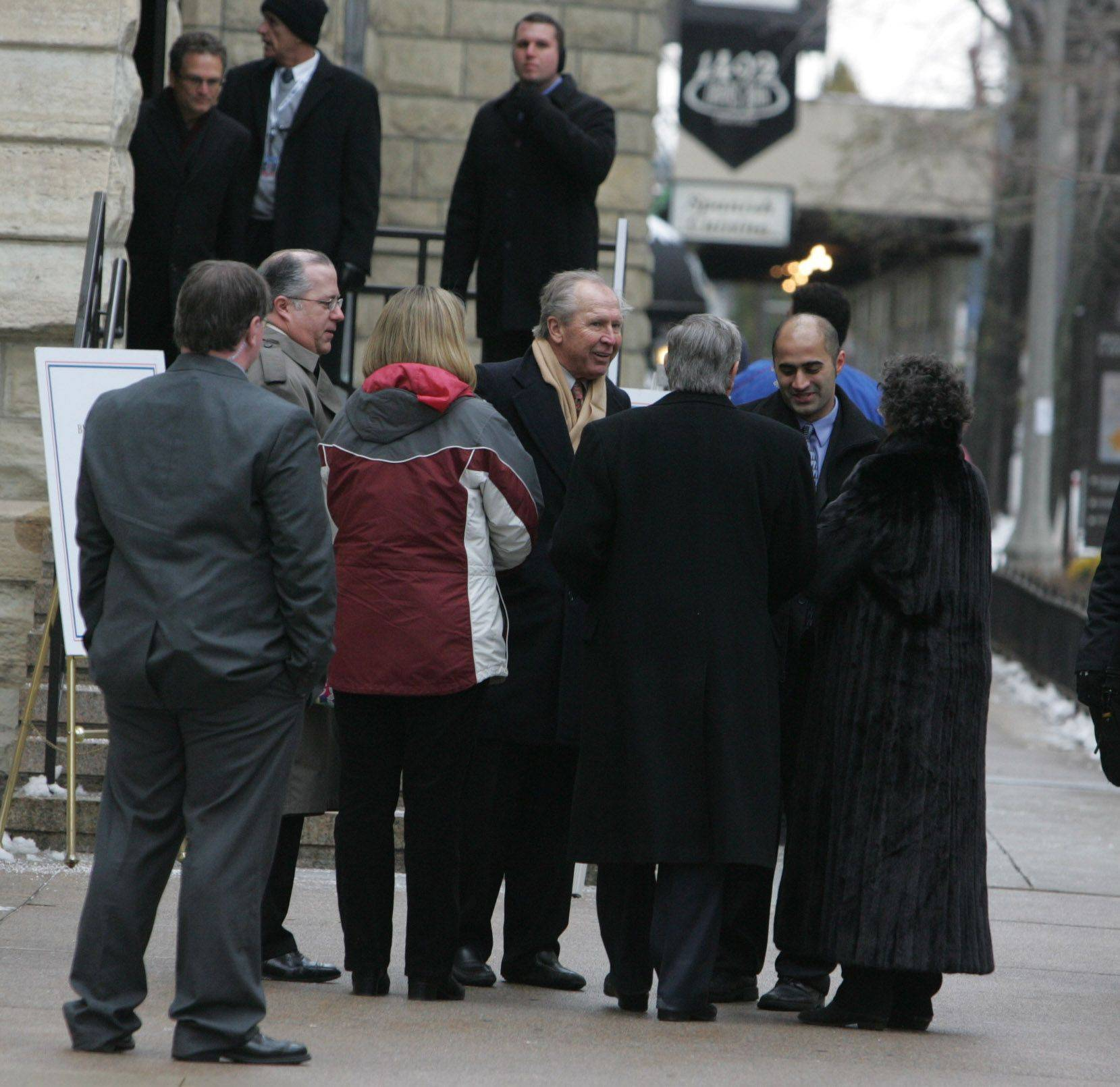 Close friends, including Cubs third baseman Glen Beckert, attend the visitation for Chicago Cubs legend Ron Santo.