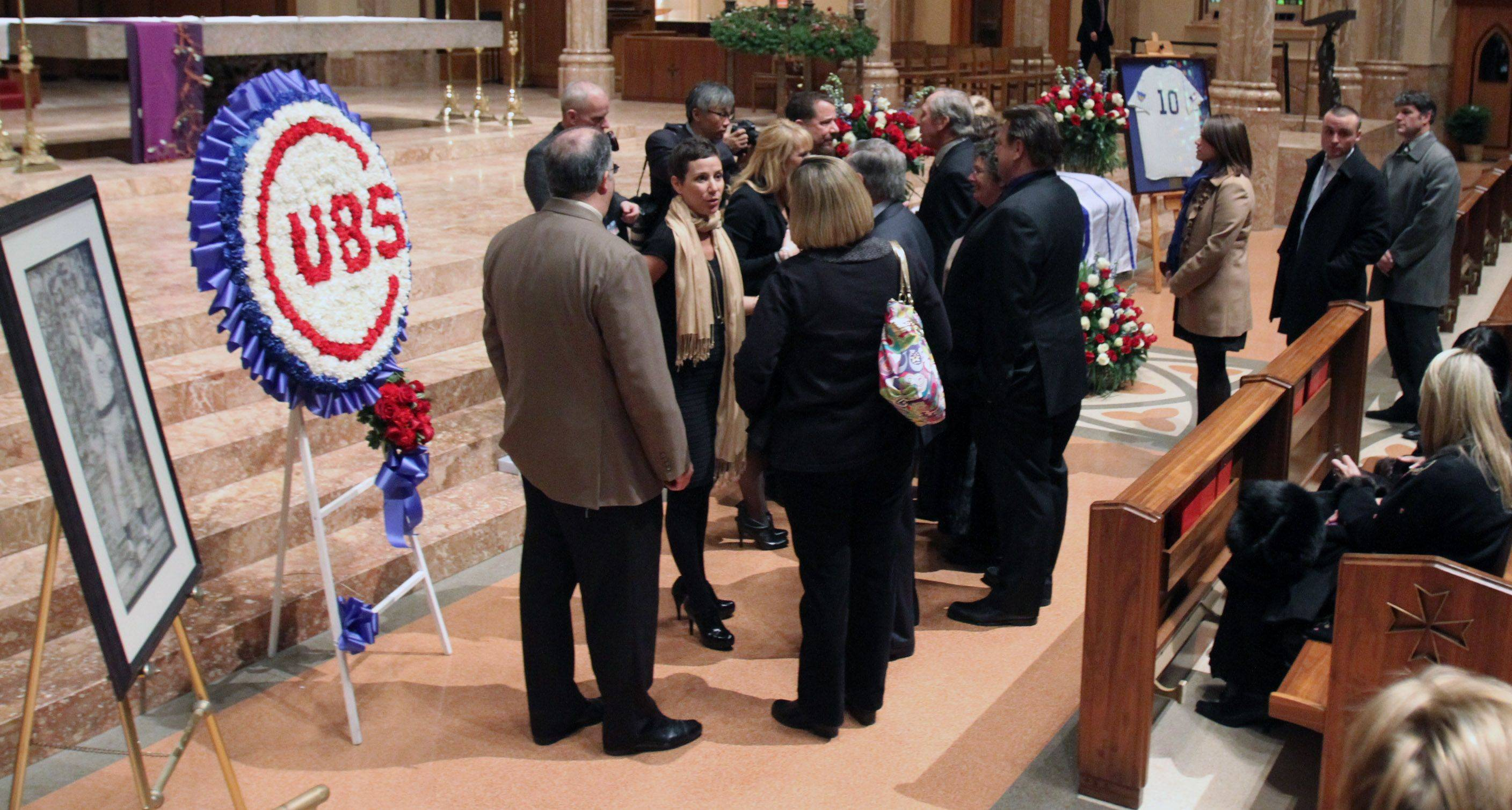 Family and friends of Chicago Cubs legend Ron Santo attend the visitation .