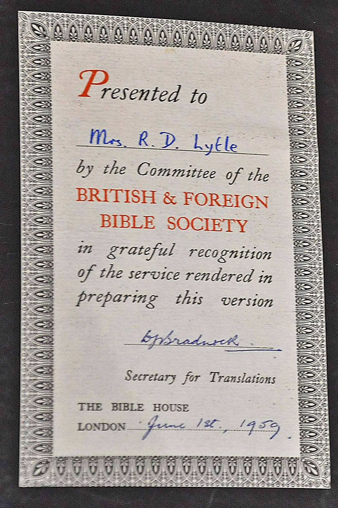 Barbara Lytle of Batavia received this certificate in recognition of her work translating the Book of Acts into Kpelle, the language of the tribe she worked with in West Africa. The book was later published by the British and Foreign Bible Society for other missionaries to use.