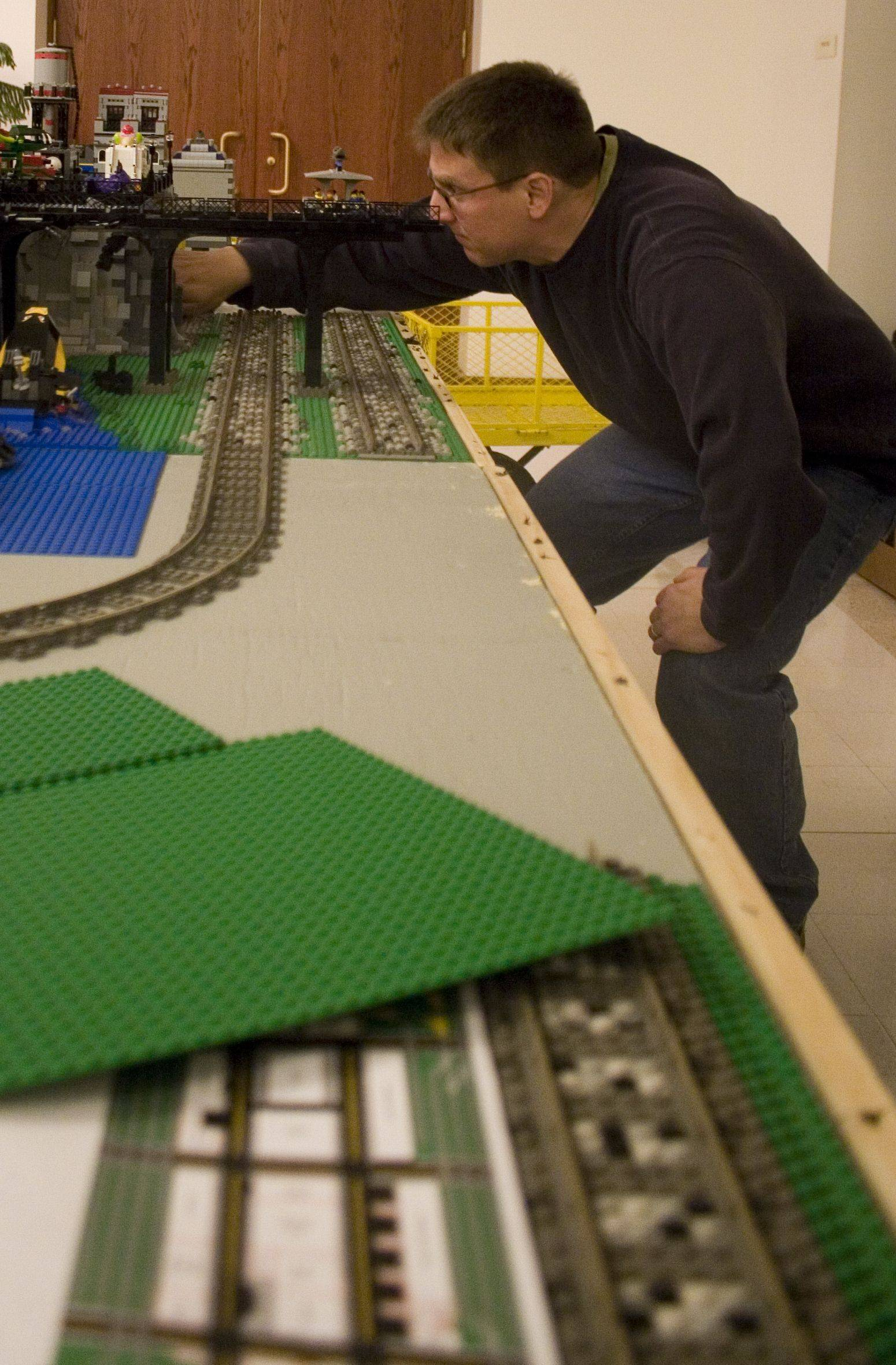 Northern Illinois Lego Train Club members like Dave Herring take a full day to set up the train layouts and displays for their annual show at Cantigny in Wheaton.