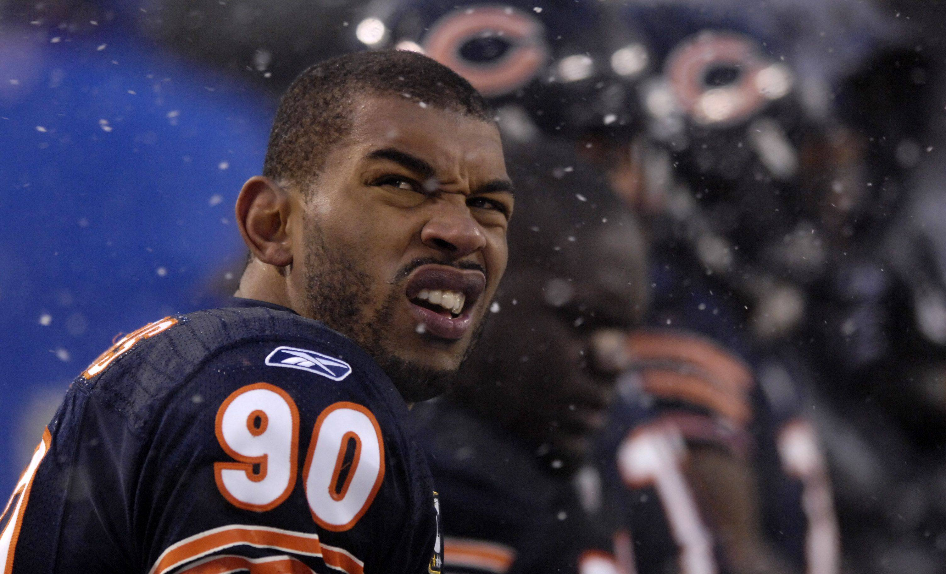 Chicago Bears defensive end Julius Peppers sits on the bench during Sunday's game.