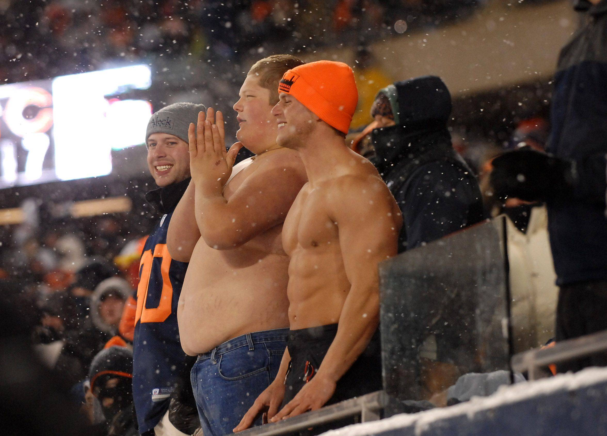 Fans enjoy the action during Sunday's NFL football game between the Chicago Bears and the New England Patriots at Soldier Field.
