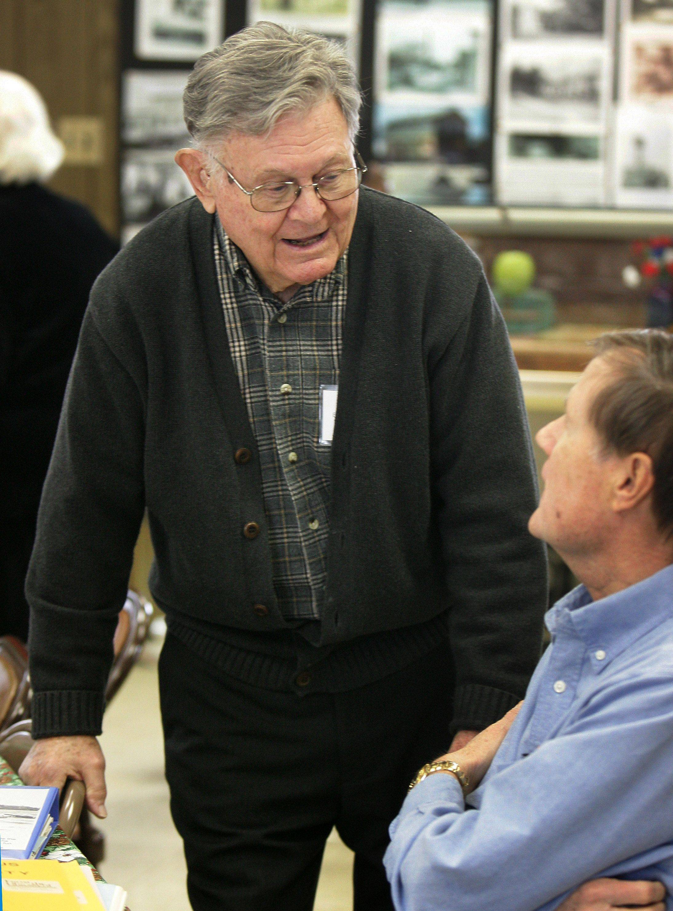 Dale Blau, the oldest living resident born in Lake Zurich, talks to Roger L. Knigge during the Ela Historical Society Open House Sunday in Lake Zurich.