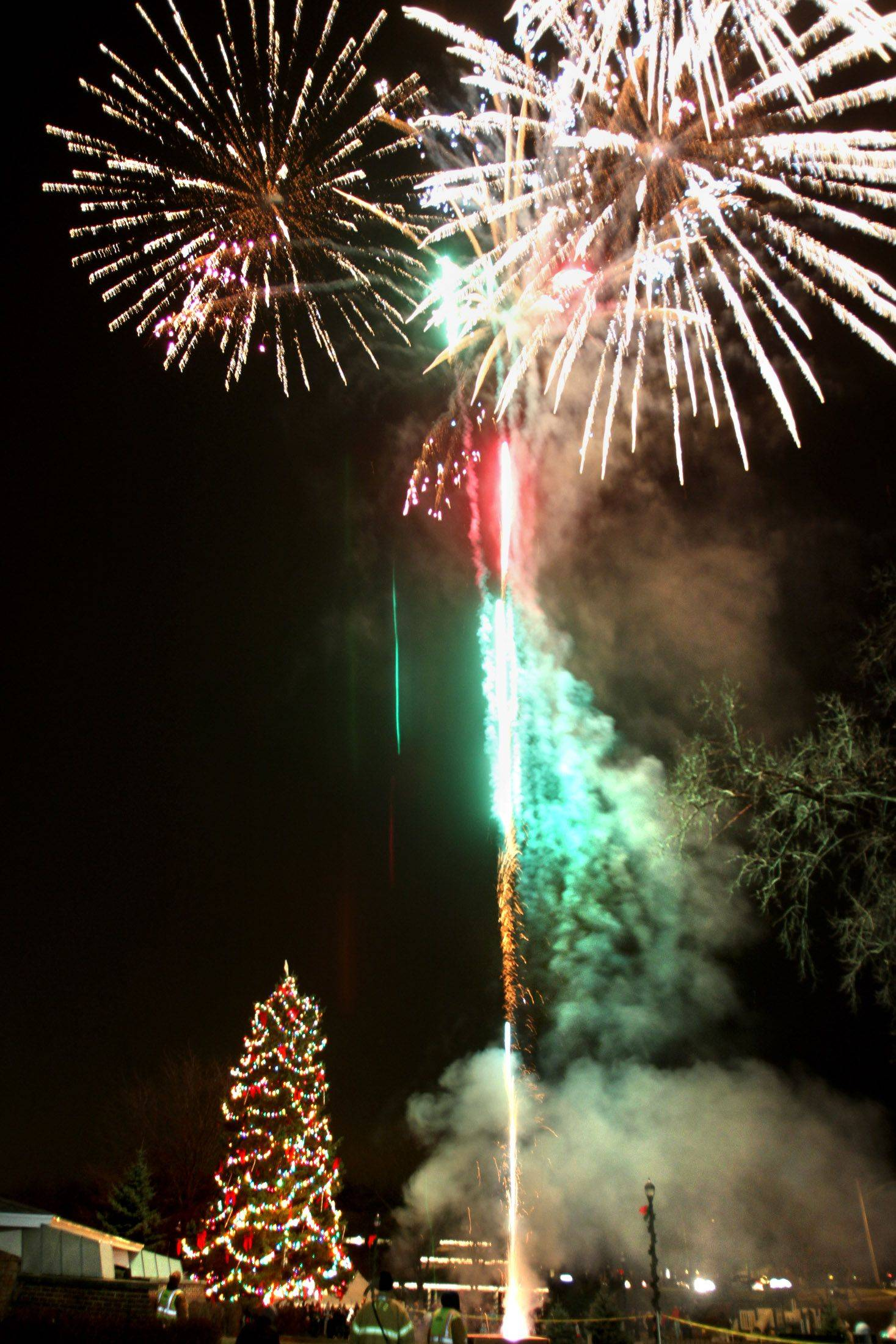 Mundelein's annual village holiday tree lighting ceremony ended with a five-minute fireworks display above the 30-foot spruce tree at Kracklauer Park on Friday, December 3.