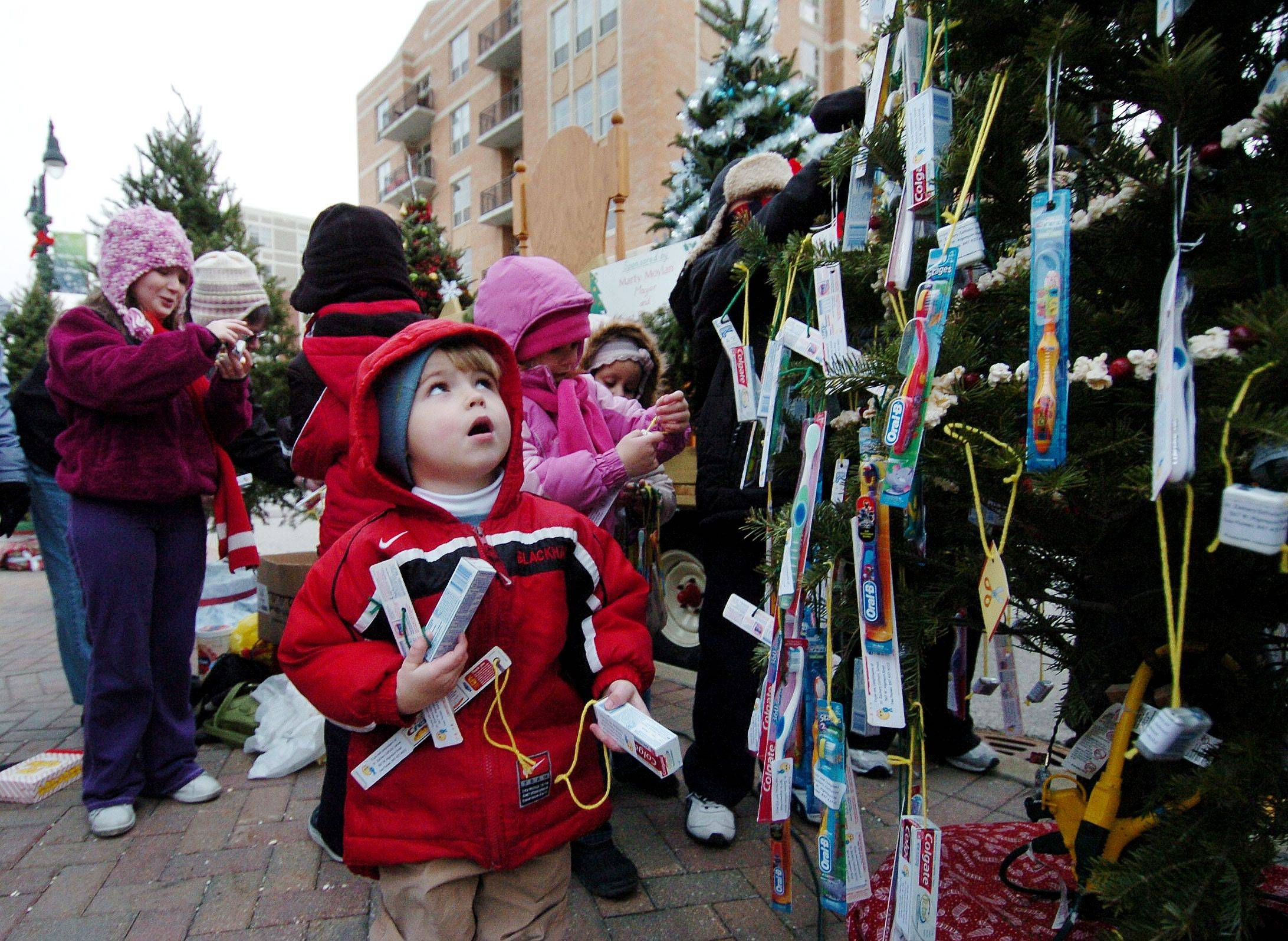 Three-year-old Sean Halpin seems a bit intimidated by the large Christmas tree he's helping to decorate for St. Zachary's parish during the Des Plaines Christmas tree lighting street fest at Metropolitan Square.