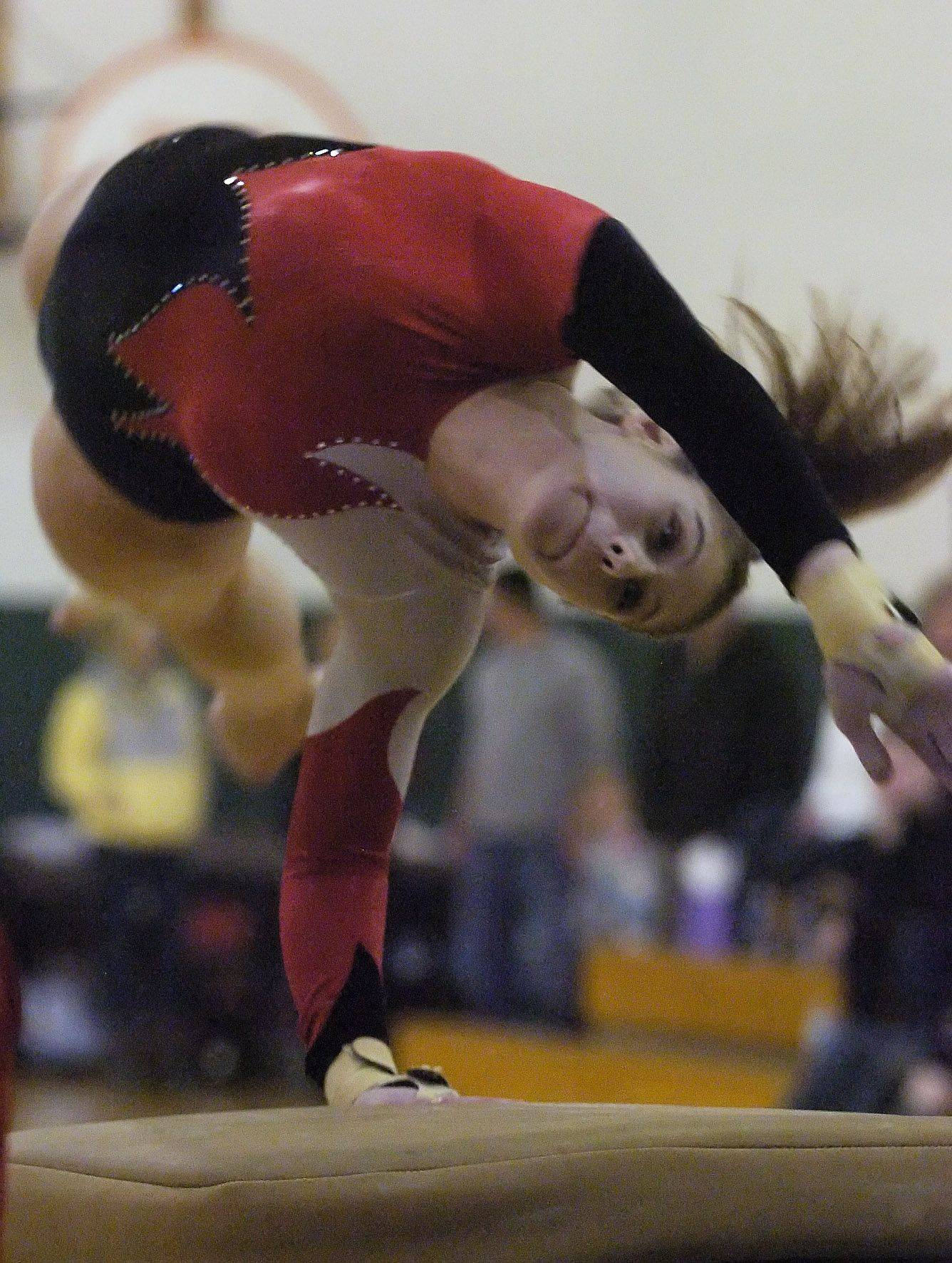 Palatine's Alyssa Alden competes on the vault during Wednesday's meet at Fremd.