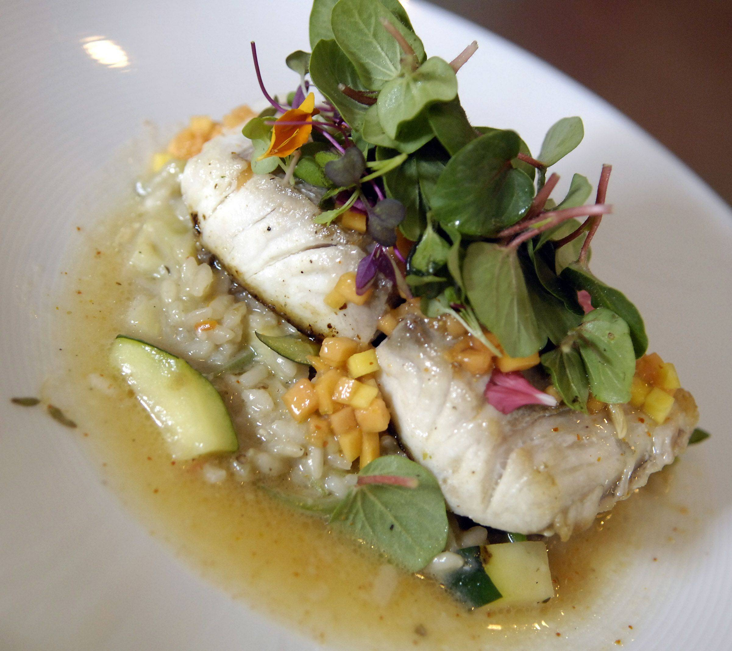 Fresh fish pairs perfectly with vegetable risotto in a lemon vinaigrette from Isacco Kitchen in St. Charles.