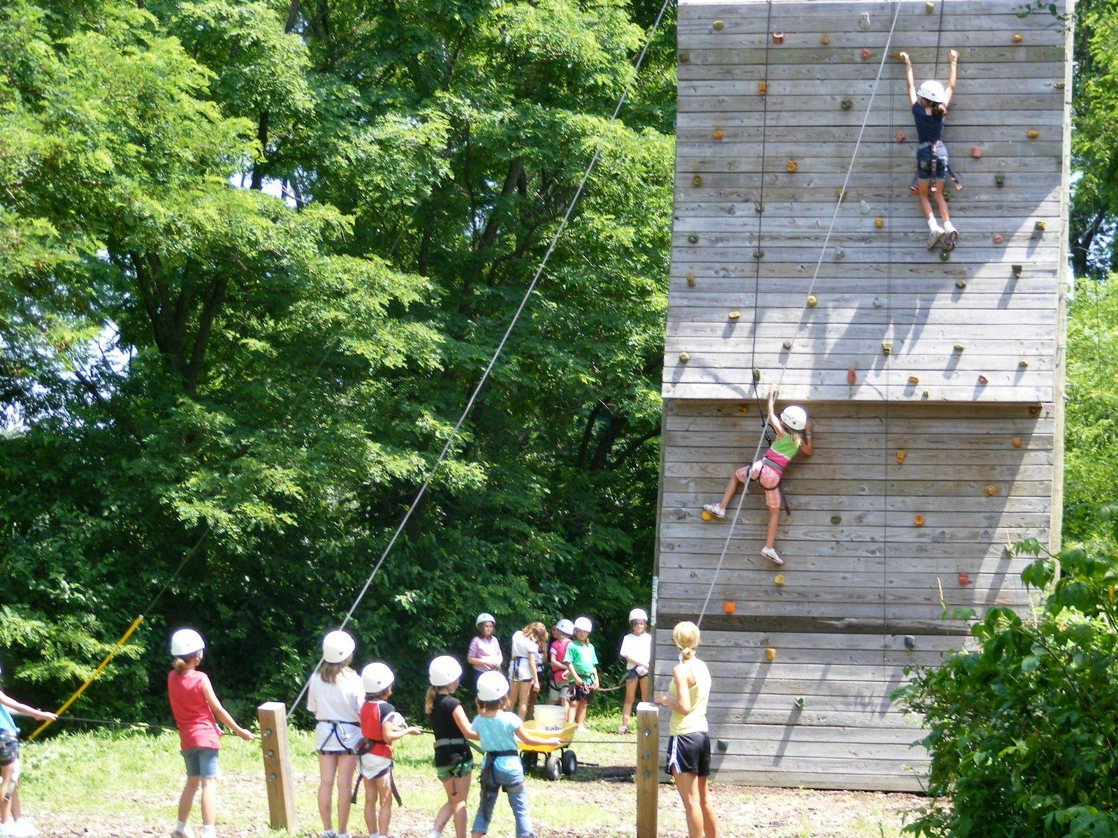The 40-foot-tall climbing wall offers four difficulty levels to challenge all students.