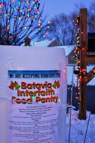 Garran and Julie Sparks of 943 Bluestem Lane in Batavia have added a donation box for the Batavia Interfaith Food Pantry so admirers can donate nonperishable food products or new toys for the needy.