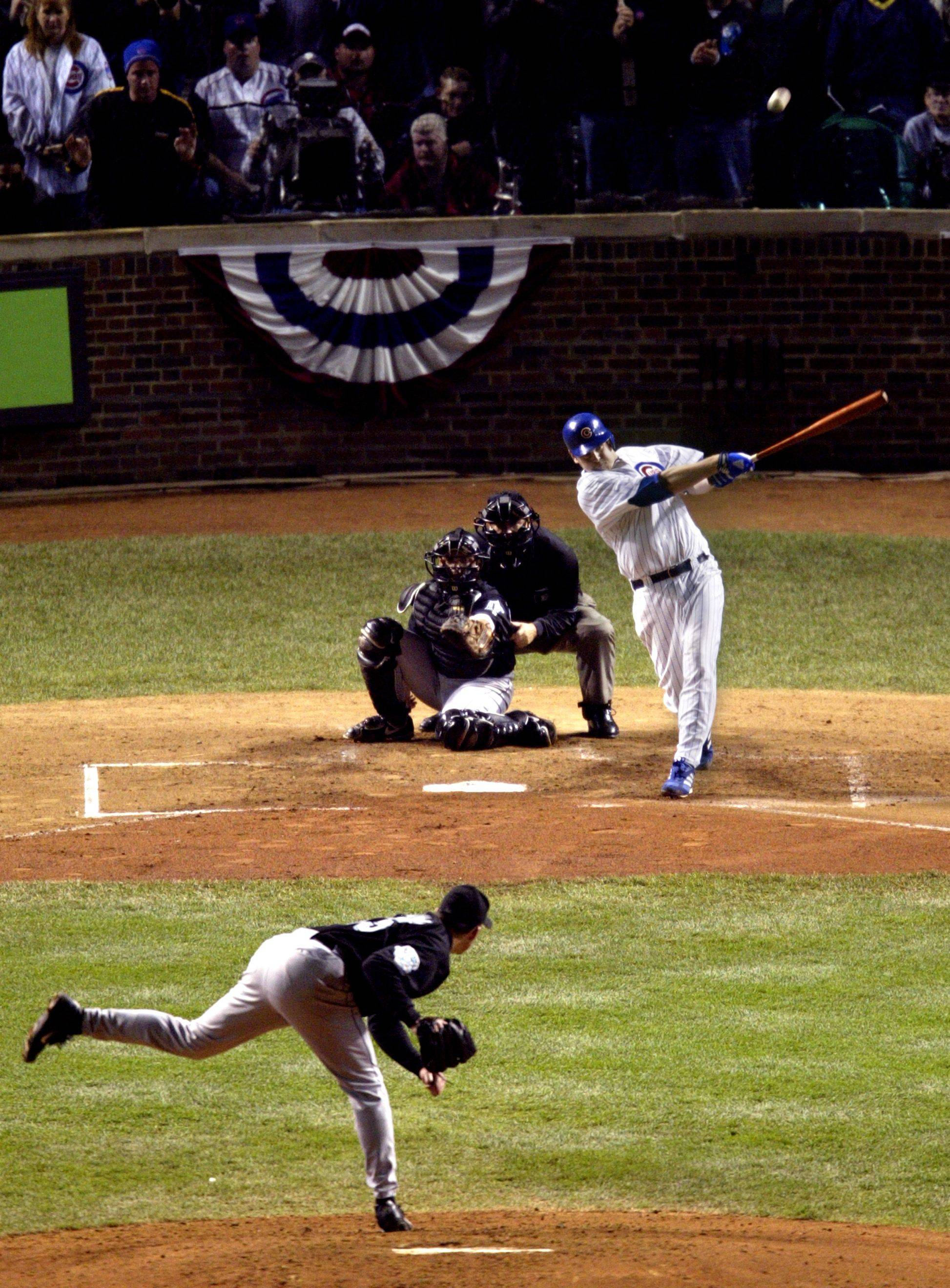 Chicago Cubs' Kerry Wood belts a three-run home run during the seventh game of the 2003 League Championship Series.