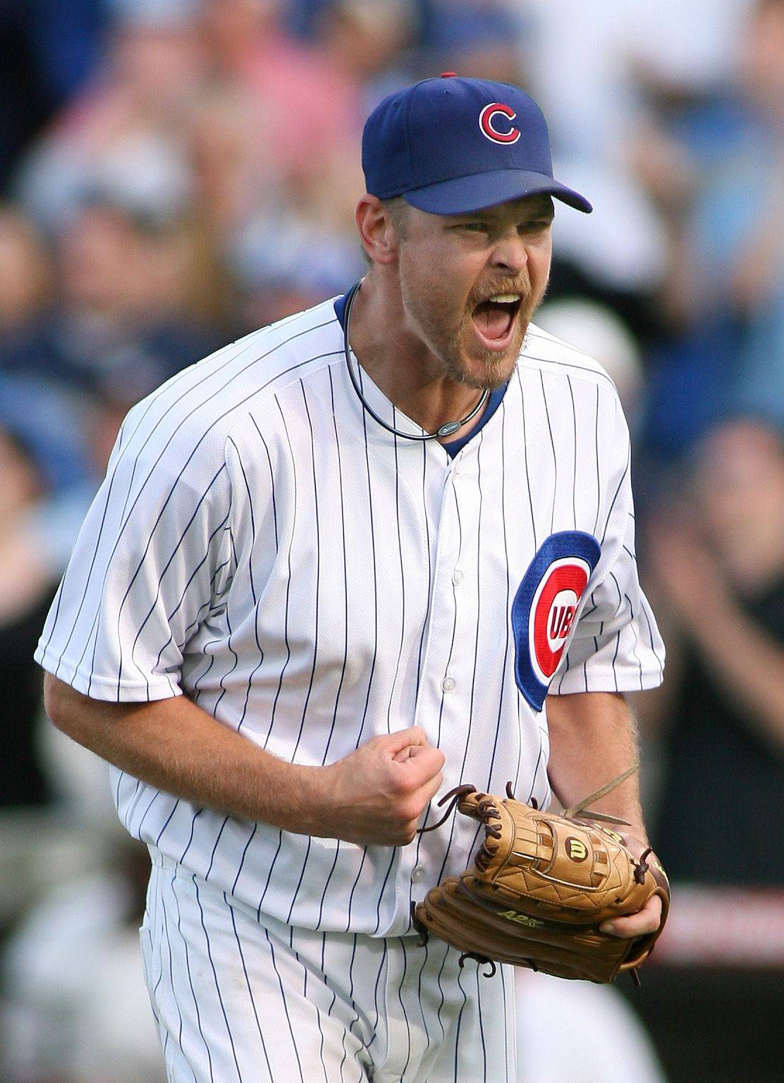DANIEL WHITE/dwhite@dailyherald.com ¬ The Chicago Cubs' Kerry Wood leaves the field pumped up after getting out of a jam in the 12th inning against the Brewers. ¬