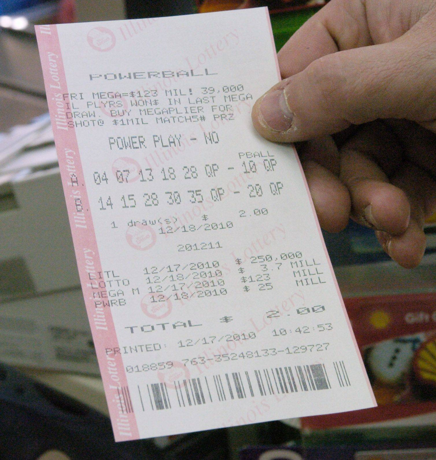 A Powerball ticket purchased at an Arlington Heights Shell station Friday.