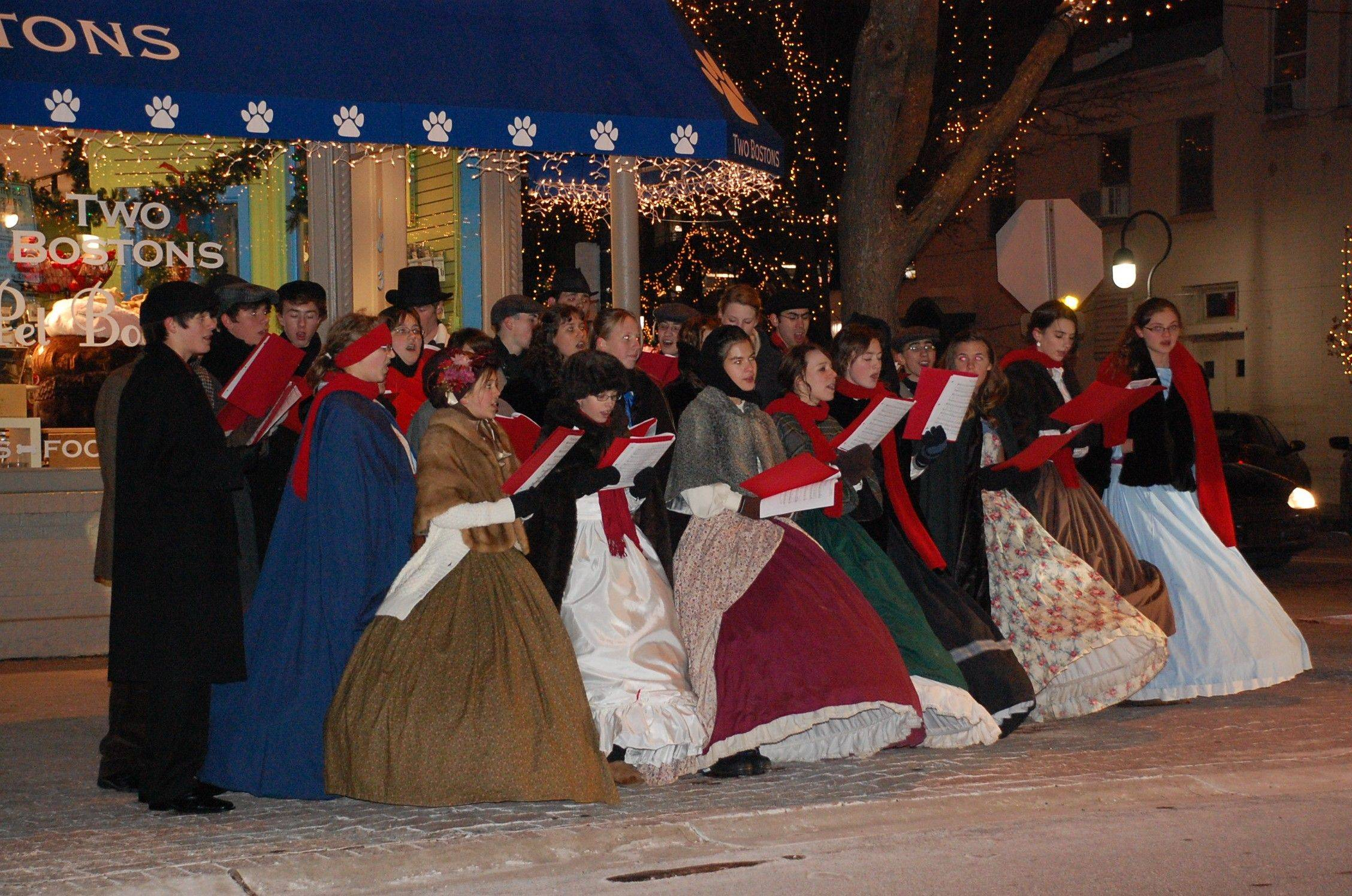The sounds of carolers in downtown Naperville can help ease some of the last-minute holiday shopping stress.